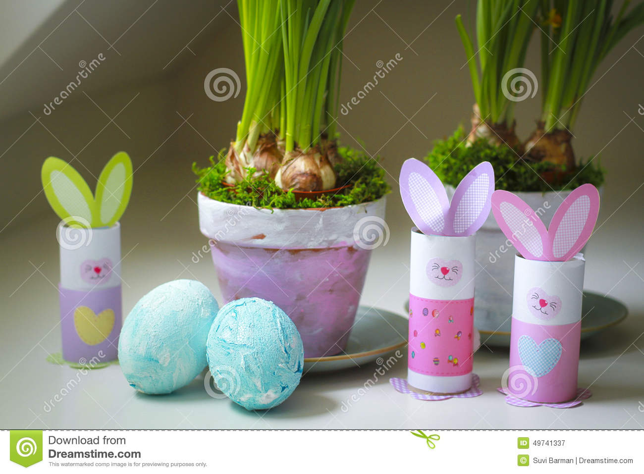 easter decorations homemade bunnies eggs flowerpots stock