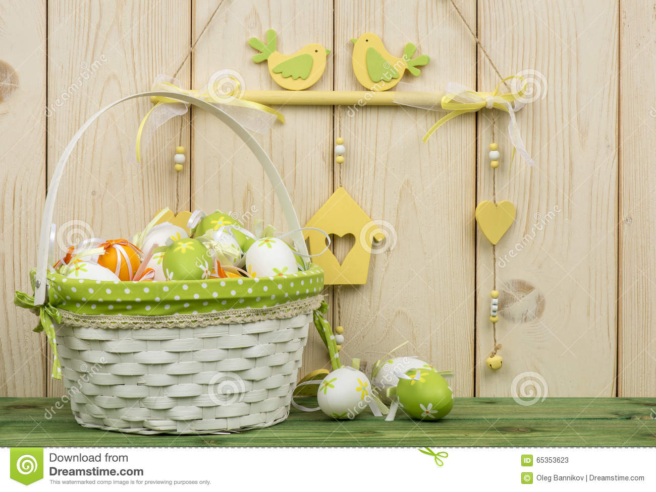 Easter Decorations Wooden Box Flowers Eggs Stock Photos, Images ...