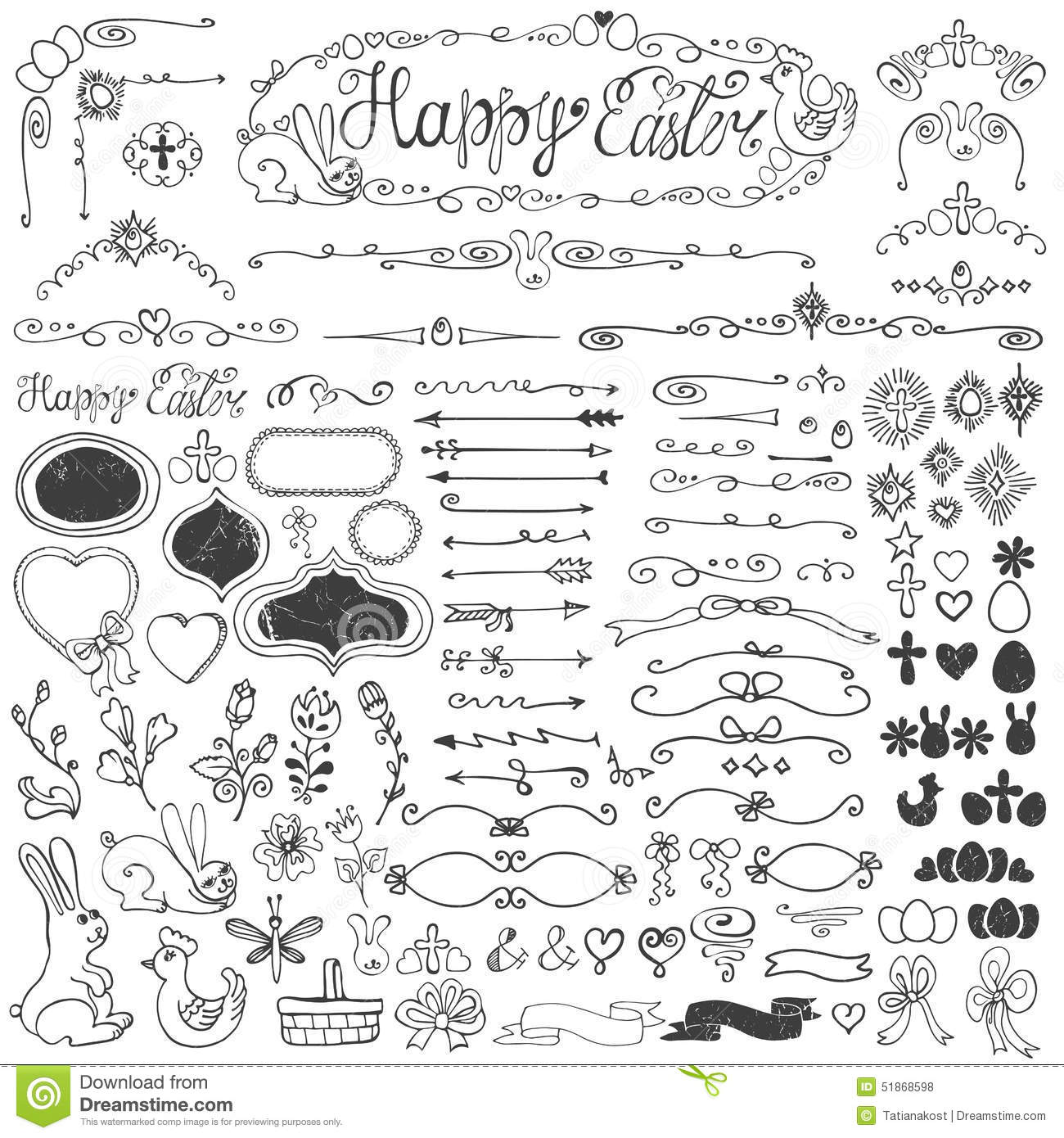 Easter Doodle Borders Egg Badges Ribbons Floral Stock