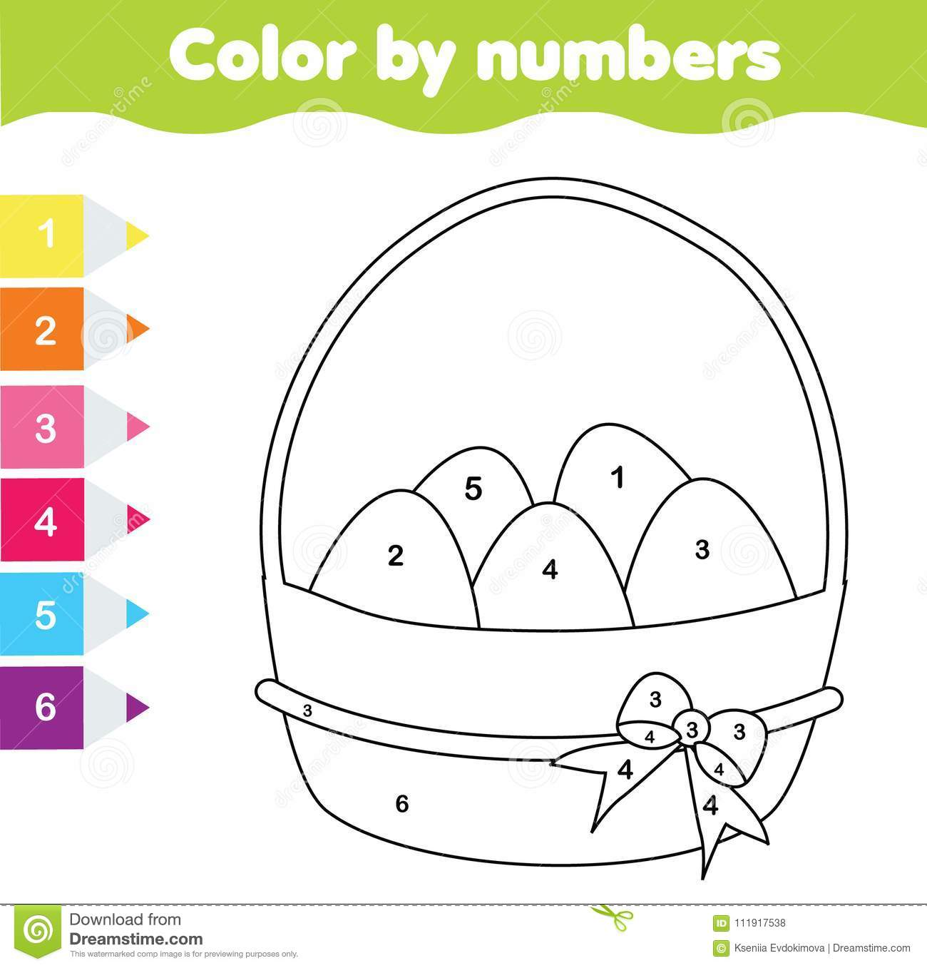 easter drawing game color by numbers printable worksheet coloring page with easter eggs. Black Bedroom Furniture Sets. Home Design Ideas