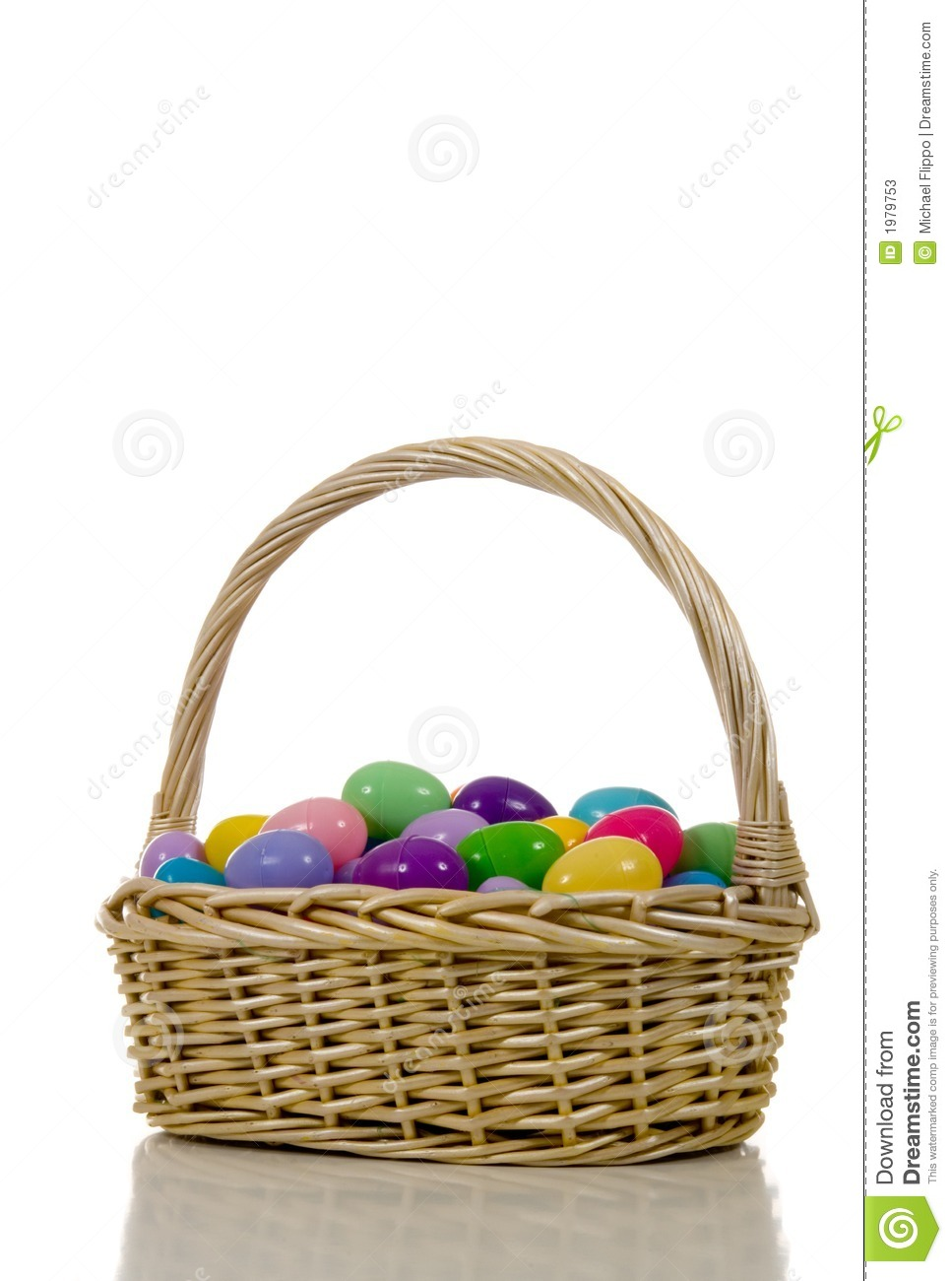 Easter Egg Basket With Plastic Multicolored Eggs