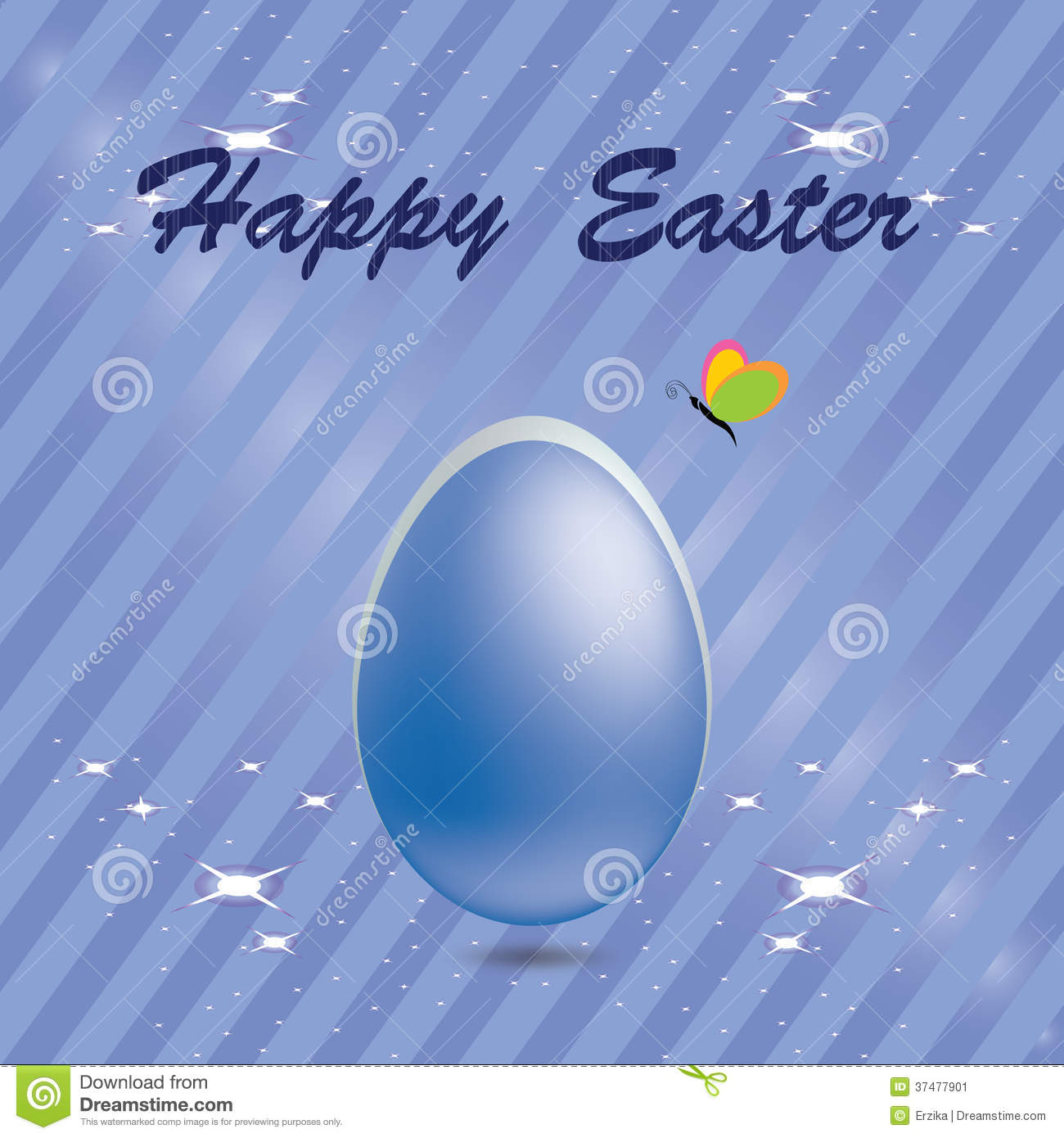 Easter egg in a blue striped background with