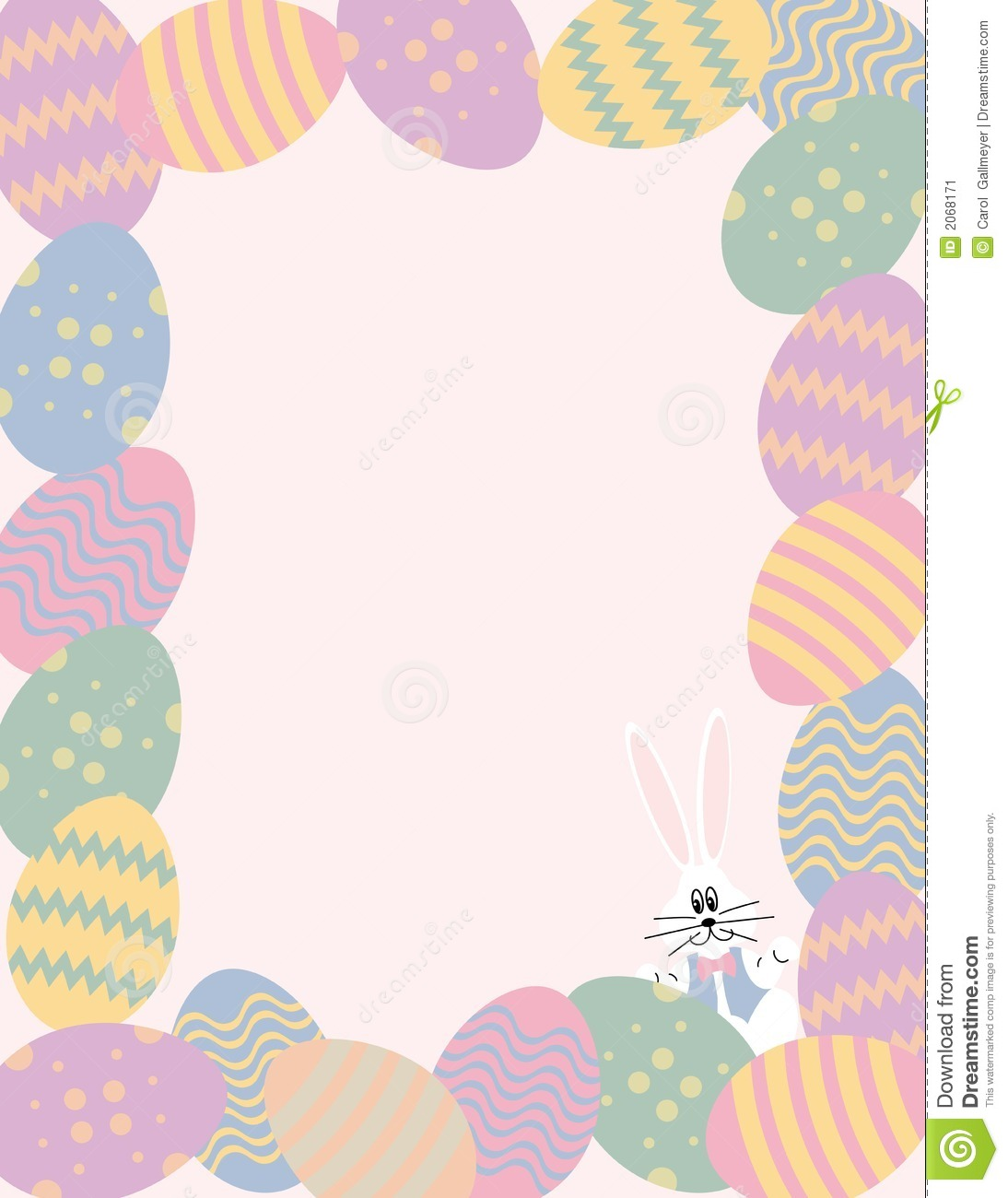 Easter Egg Border With Bunny