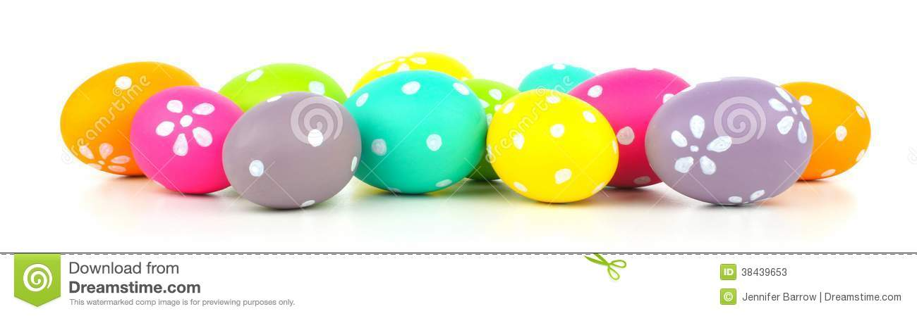 Colorful Pile Of Easter Eggs Arranged As A Border Over White Background