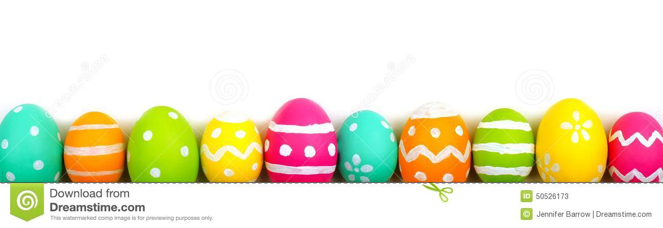 Colorful long Easter egg border against a white background.