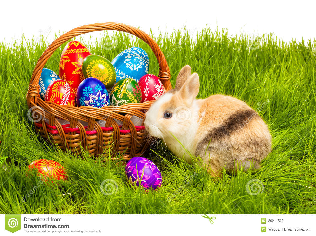 Easter Egg And Bunny In Basket Stock Photo - Image of horizon, image ... for Easter Eggs In A Basket With A Bunny  555kxo