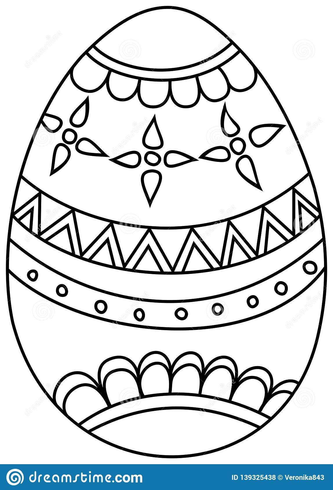 Easter Egg. Coloring Book For Kids. Hand Drawn Icon Stock Vector