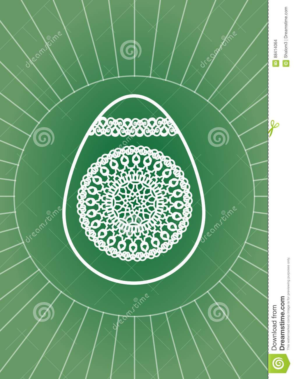 Background image 8841 - Easter Egg Decoration With White Line Drawing On Green Background Stock Vector
