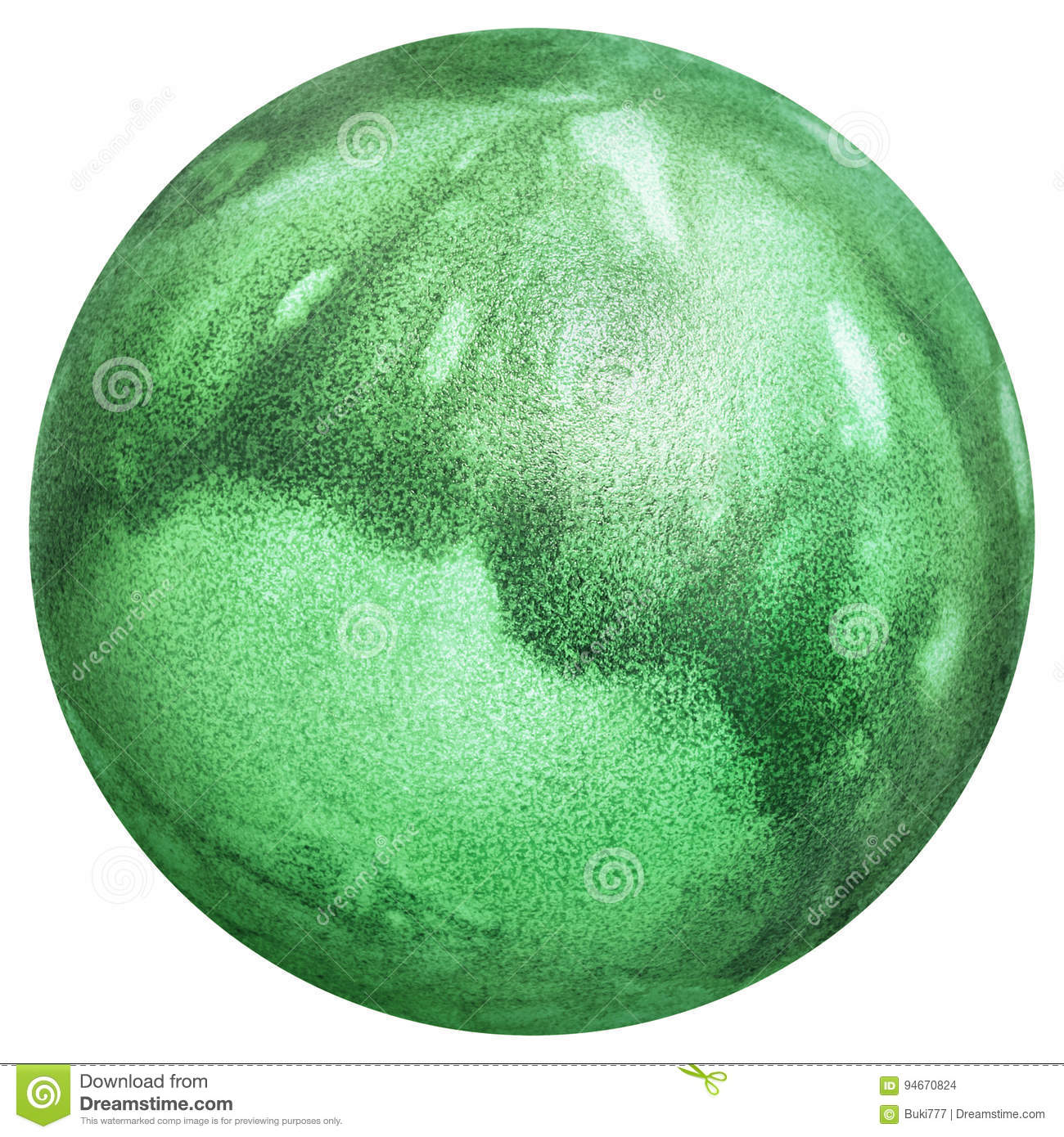 Easter Egg Dyed Kelly Green and Decorated with Leaves Imprints Top View Isolated On White Background
