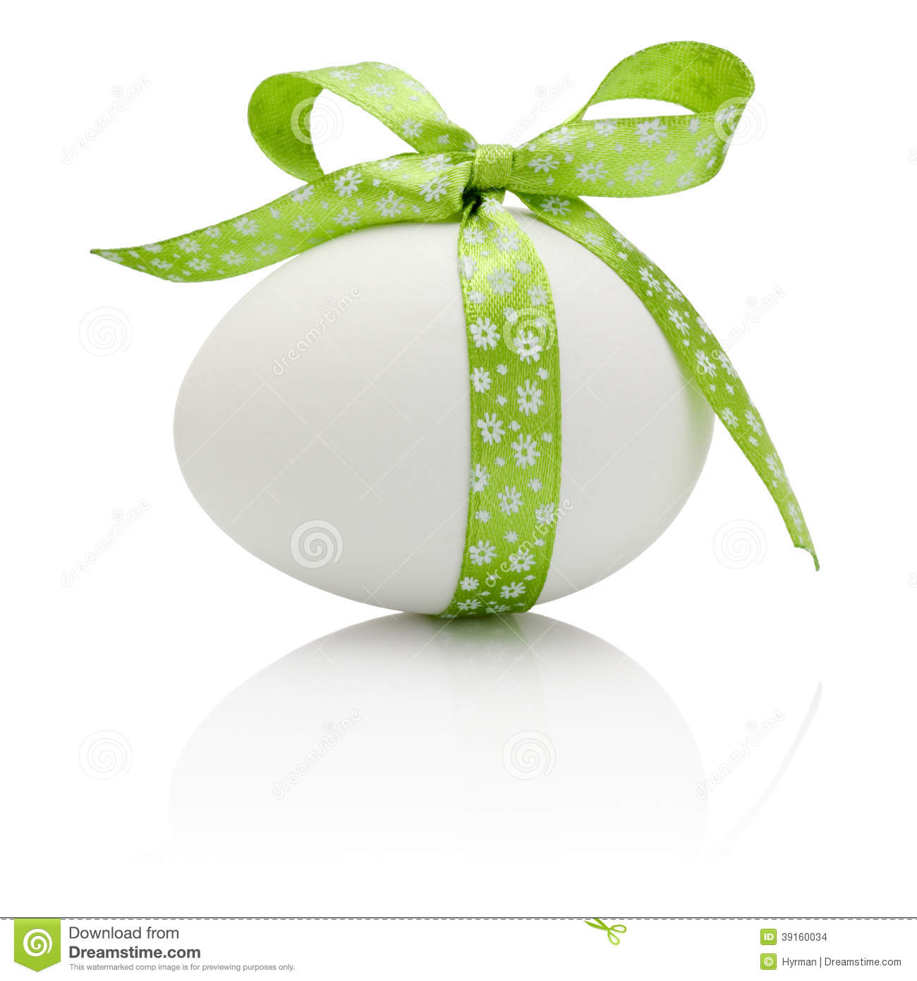 Easter egg with festive green bow isolated