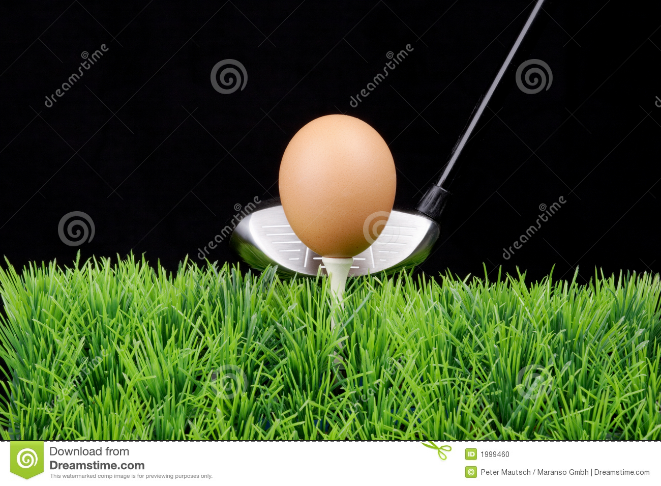 ... on a golf tee at the fairway, black background, Golf Driver behind Golf Ball On Tee Clipart