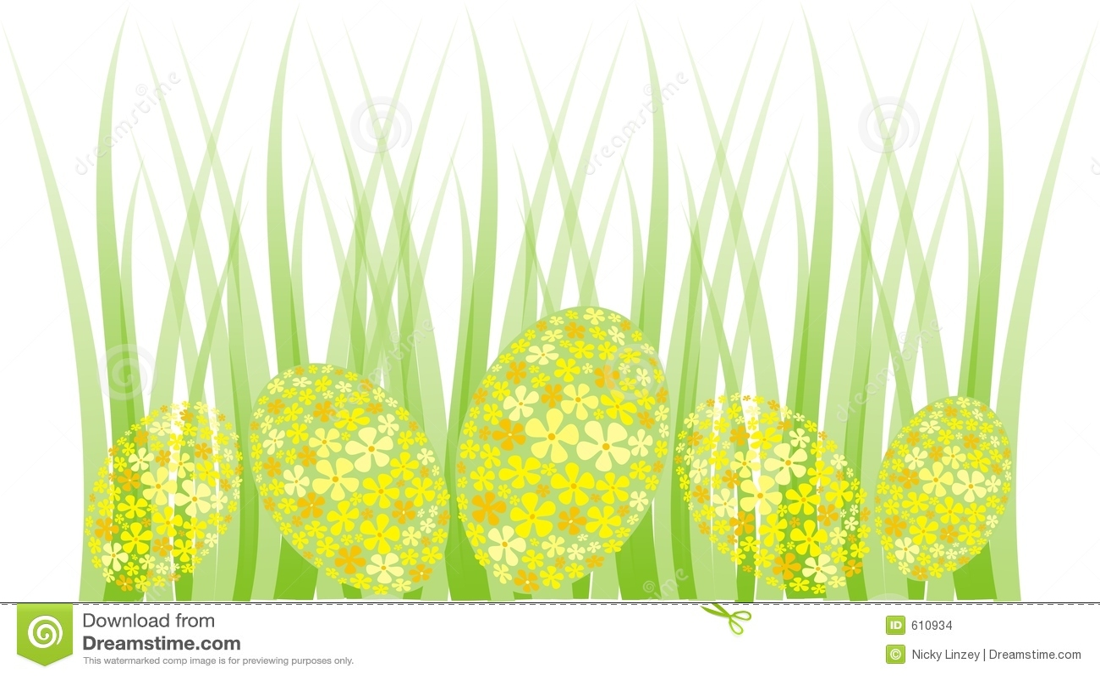 Easter Egg Grass Border Stock Images - Image: 610934