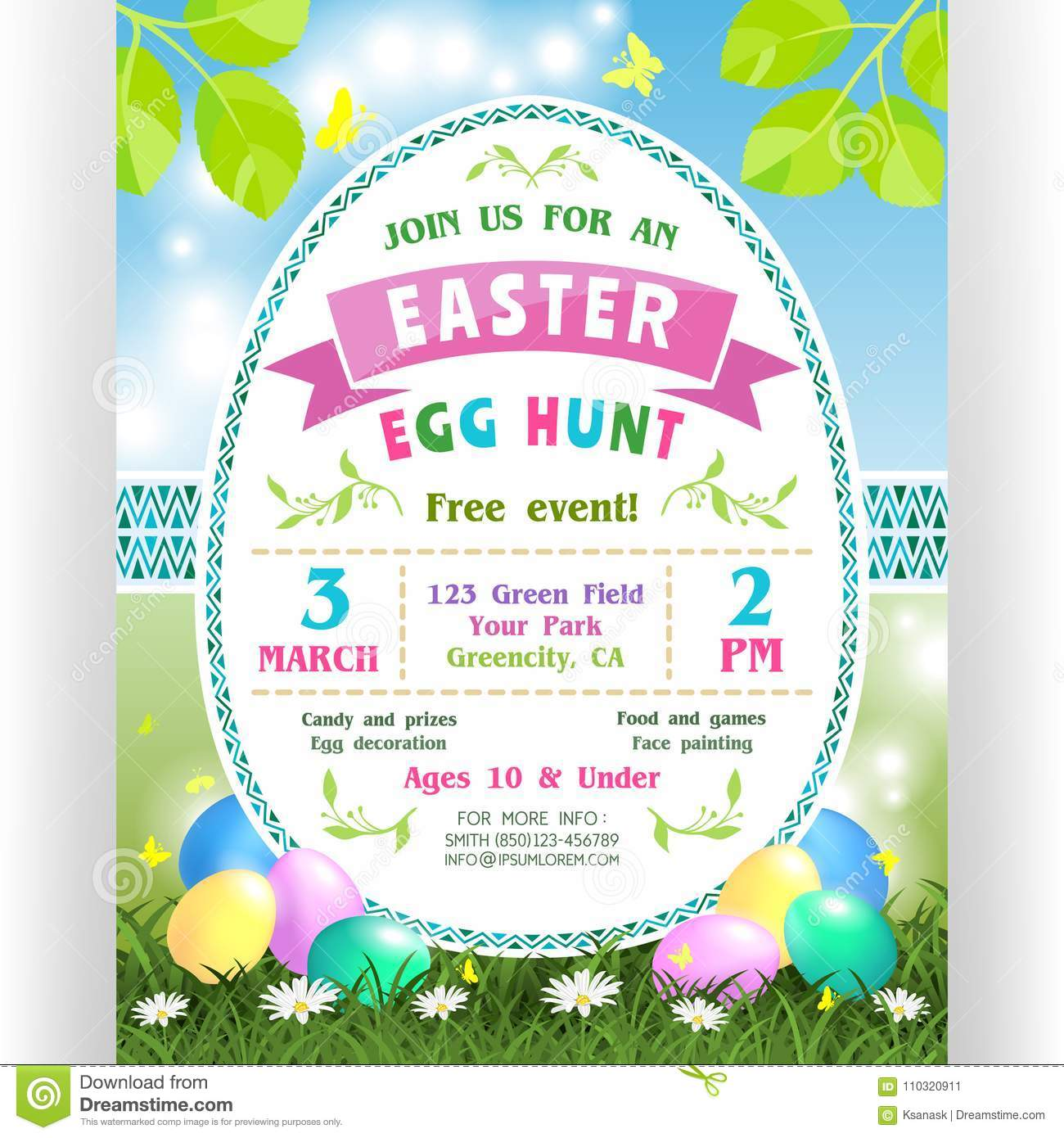 Easter egg hunt announcing poster template stock vector text customized for invitation with details about the date time location colorful eggs at green lawn with daisies and butterflies stopboris Choice Image