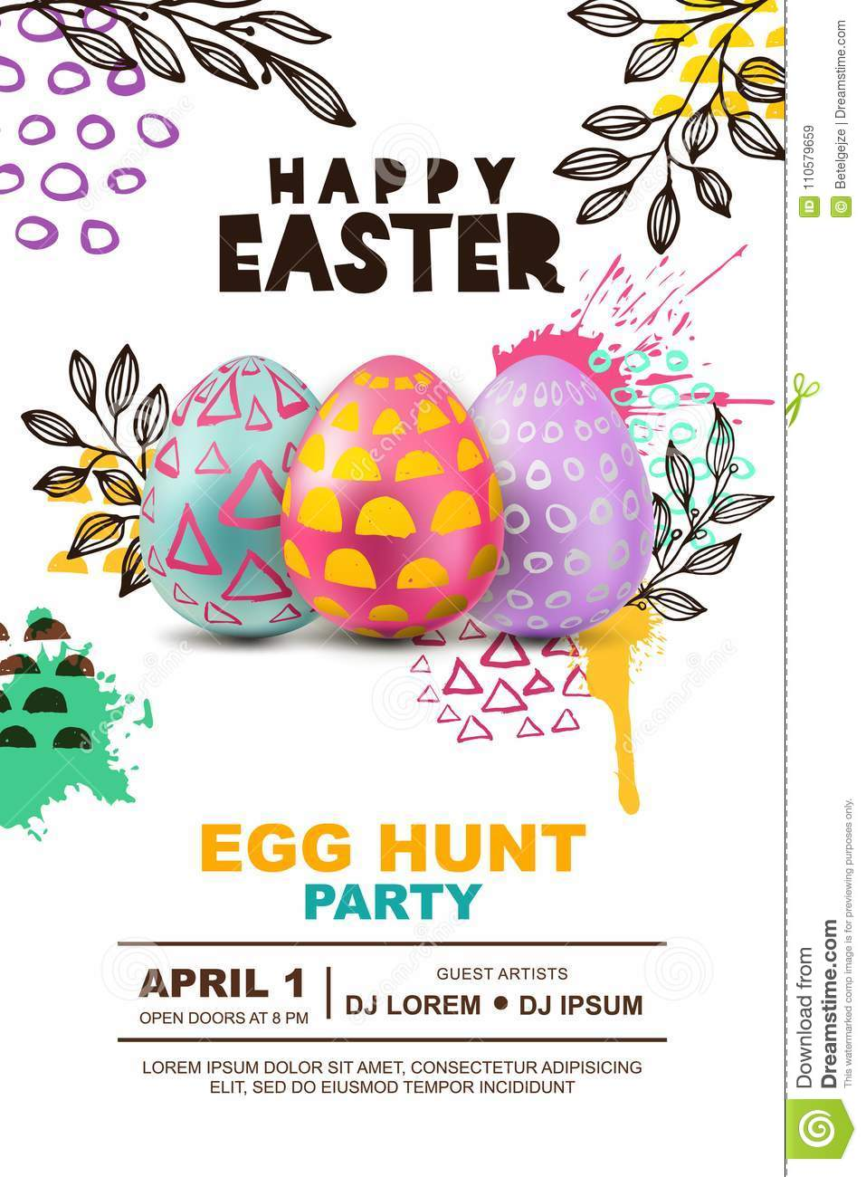 easter egg hunt party vector poster design template
