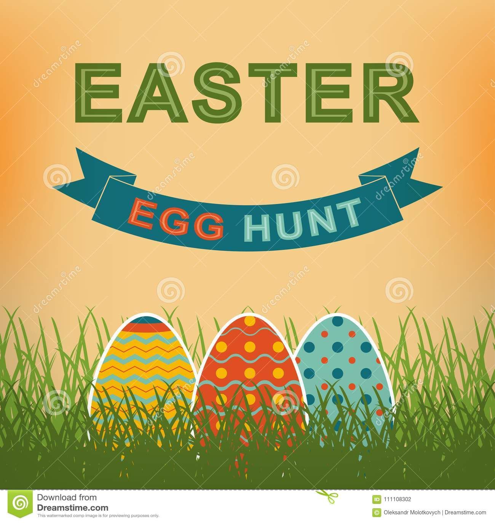 download easter egg hunt vector retro background template for your easter design stock vector