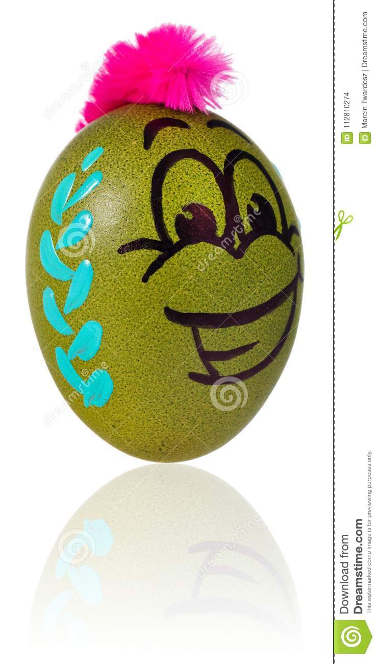 Easter Egg Painted In Smiling Cartoon Face Of Guy Decorated Egg