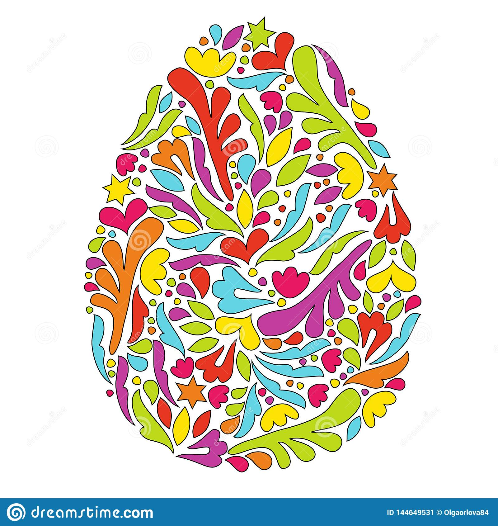 Easter egg with a pattern. Egg symbol.