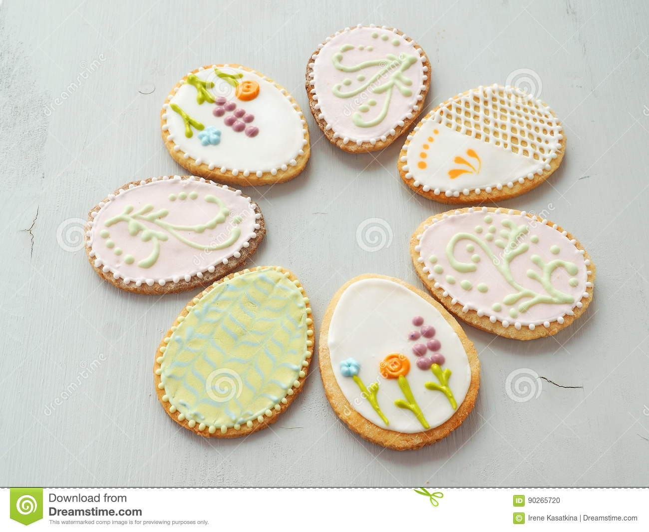Easter egg shaped gingerbread glazed with royal icing homemade royalty free stock photo negle Image collections