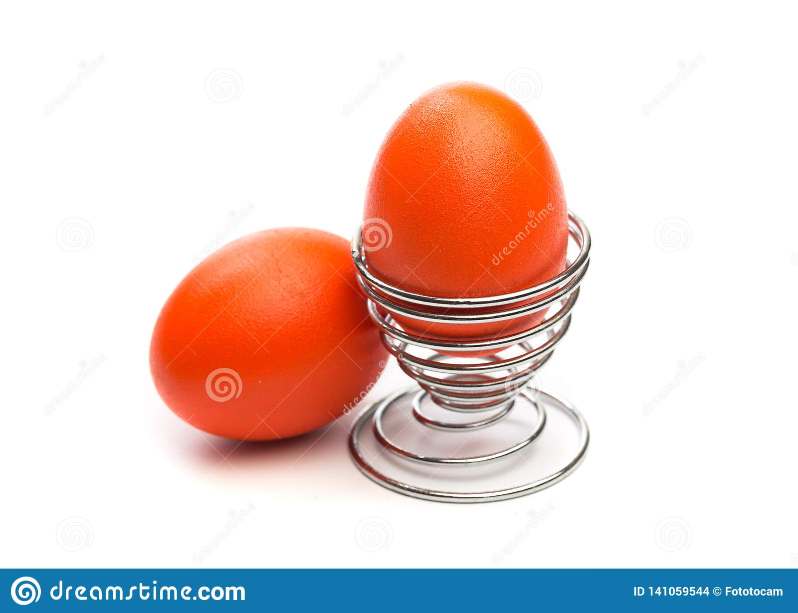 Easter egg in egg stand isolated