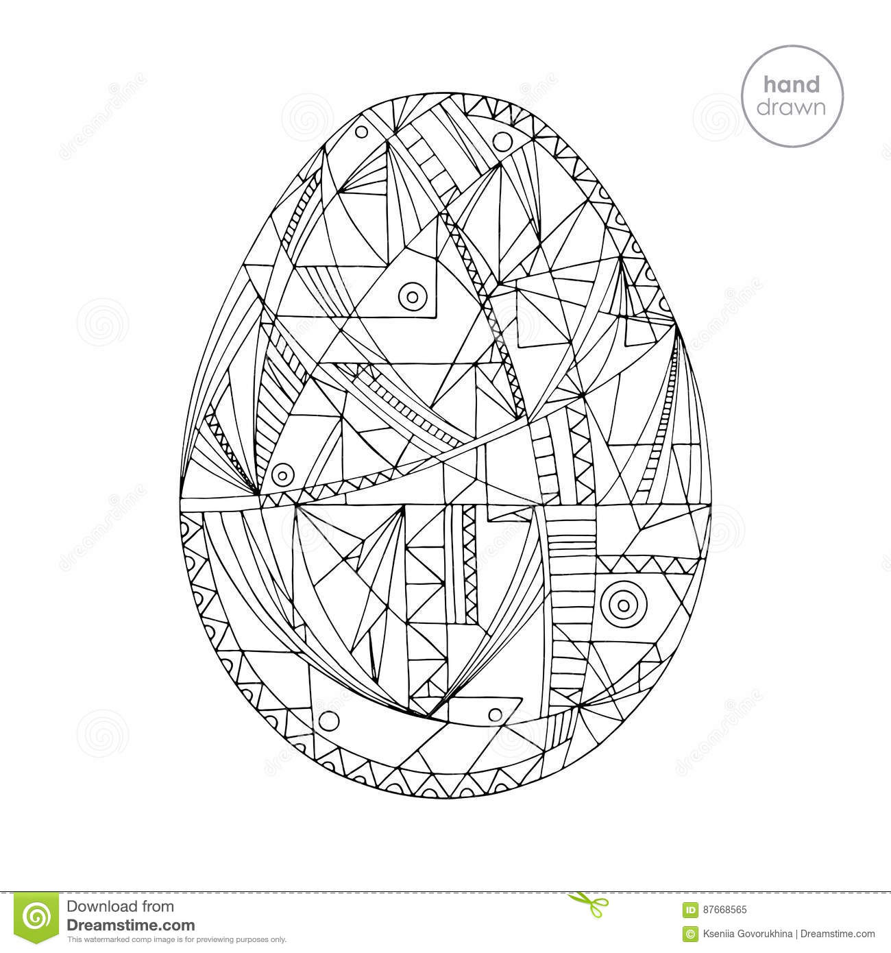 Abstract Easter Coloring Pages : Easter egg vector illustration hand drawn abstract