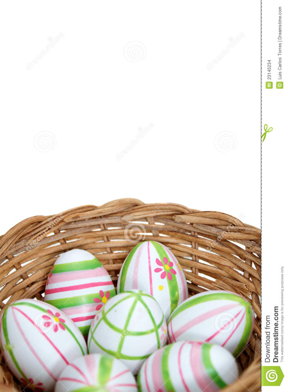 Easter eggs in a basket from bottom
