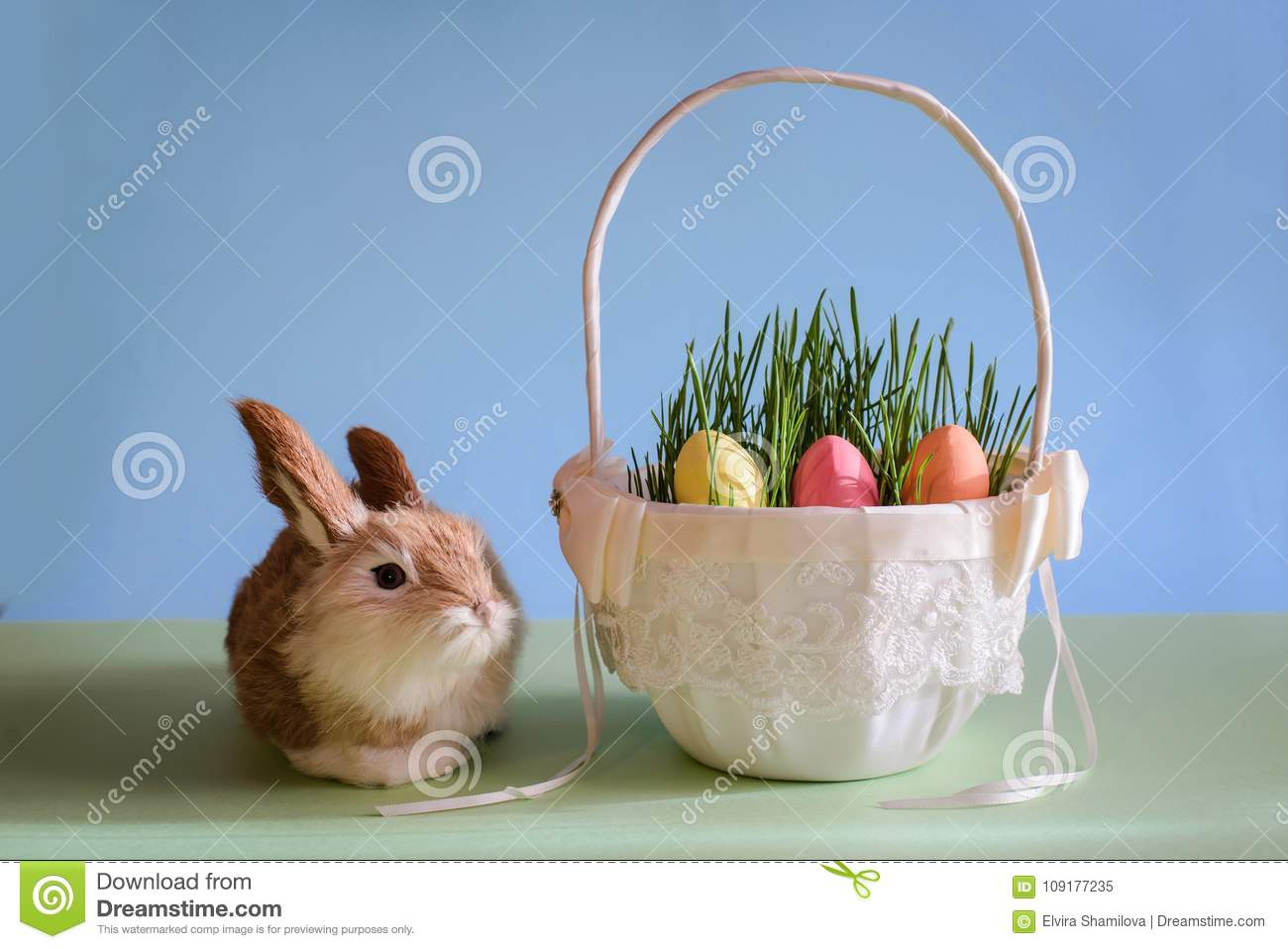 Easter eggs in basket with grass and rabbit