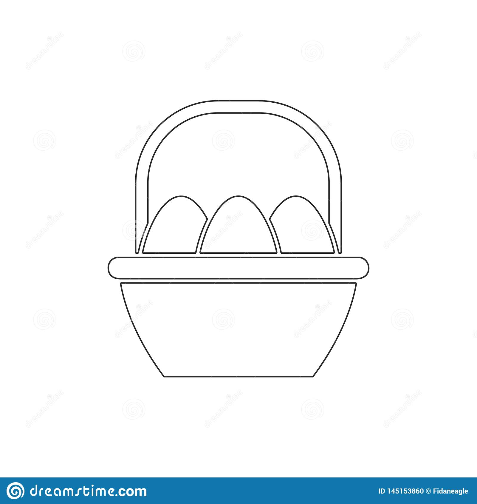 Easter eggs in basket outline icon. Elements of Easter illustration icon. Signs and symbols can be used for web, logo, mobile app
