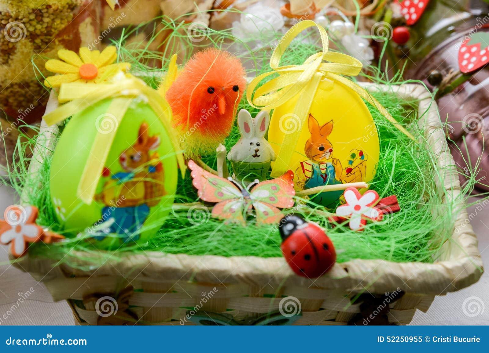 Easter Eggs Basket Stock Photo Image 52250955