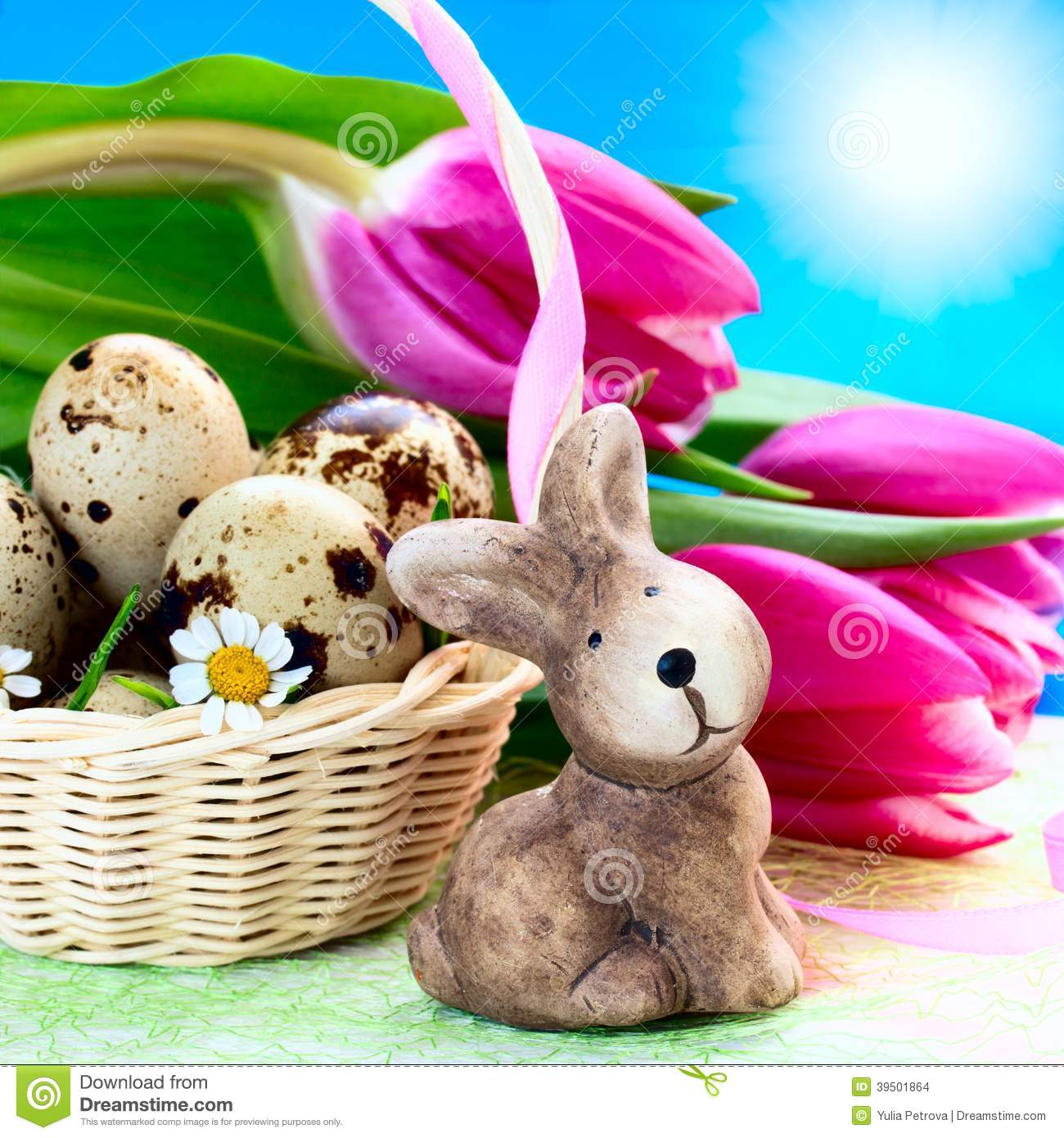 Easter eggs in the basket and rabbit
