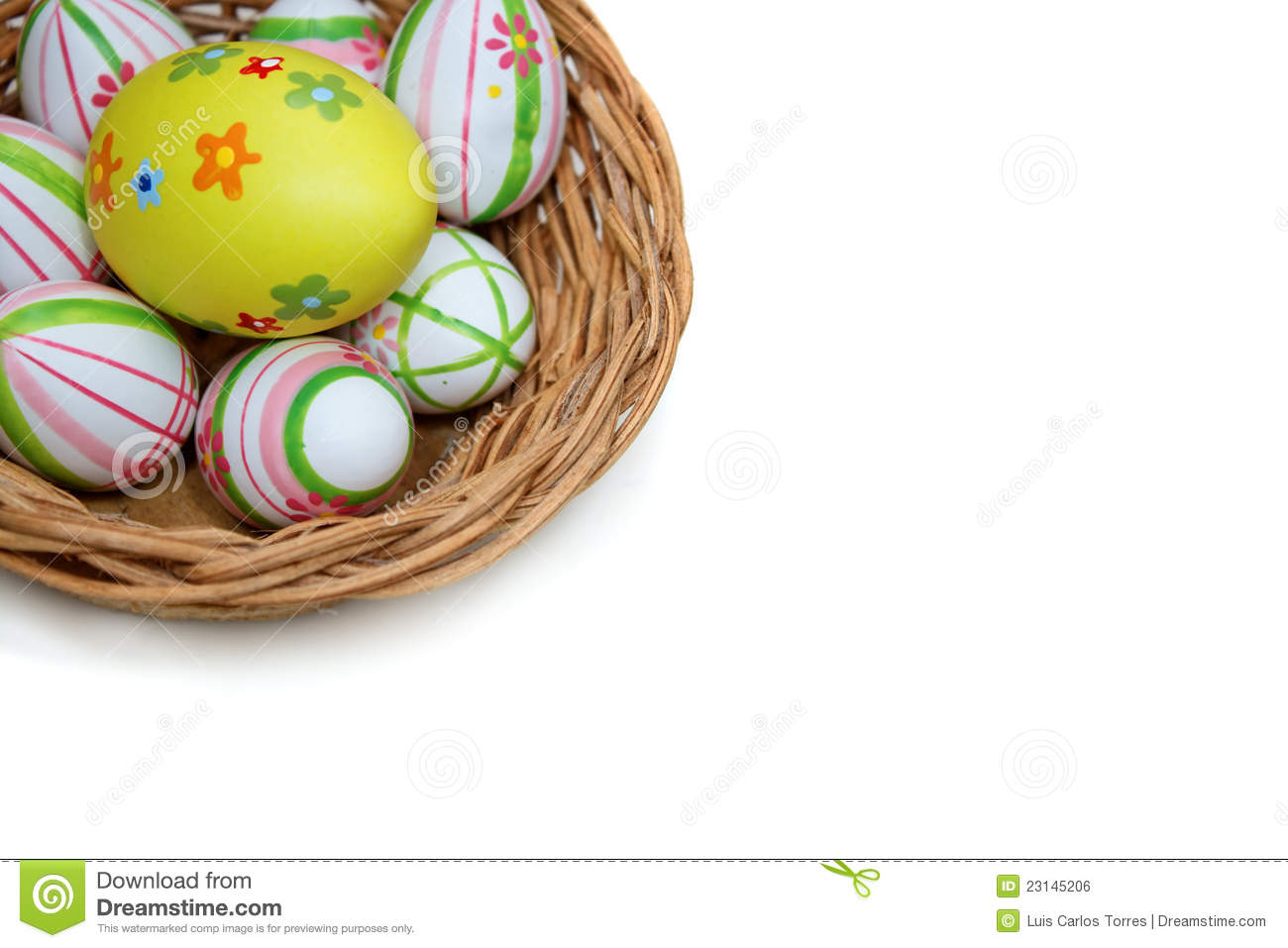 Easter eggs in a basket from top corner