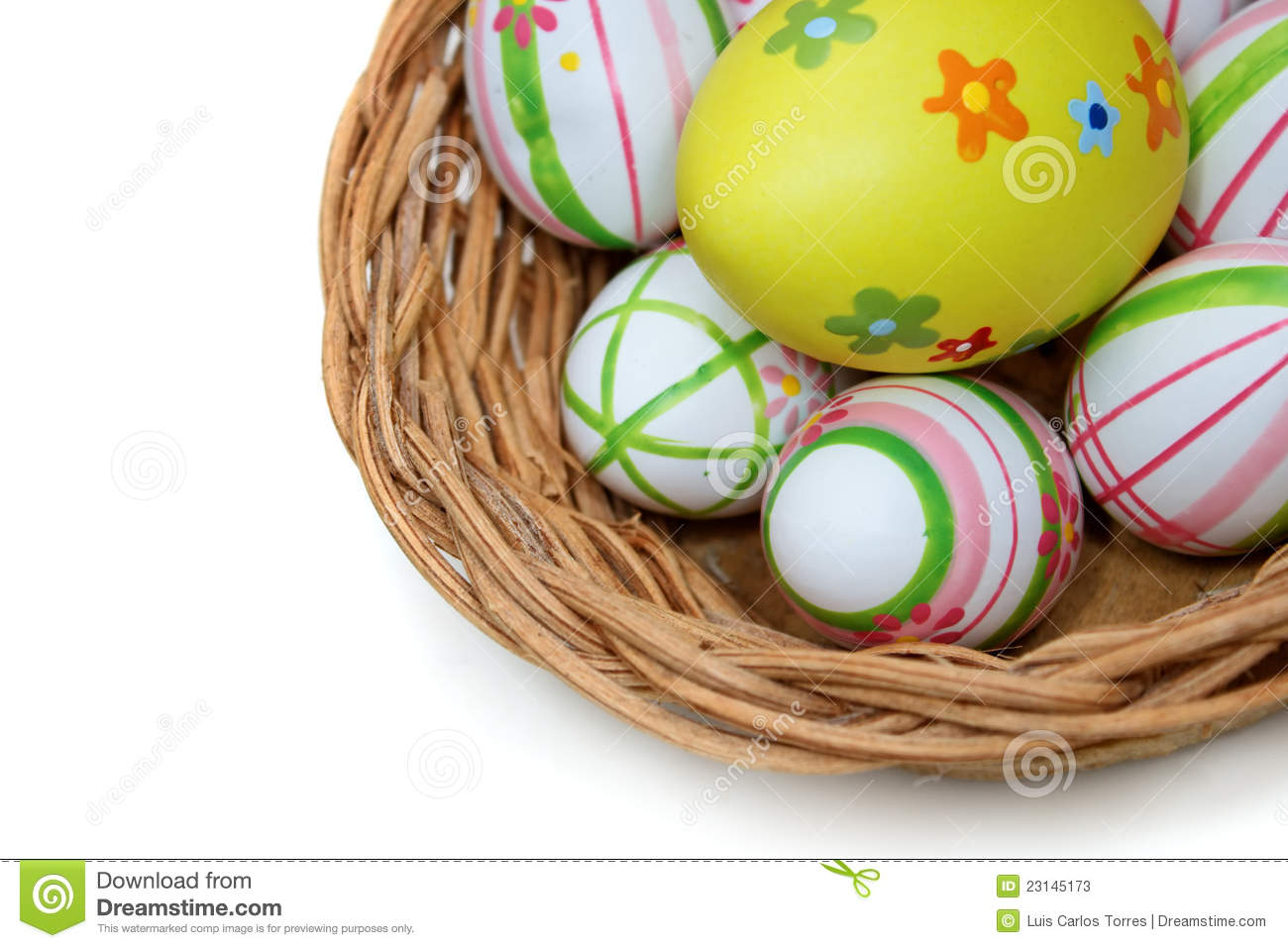 Easter eggs in a basket from top right