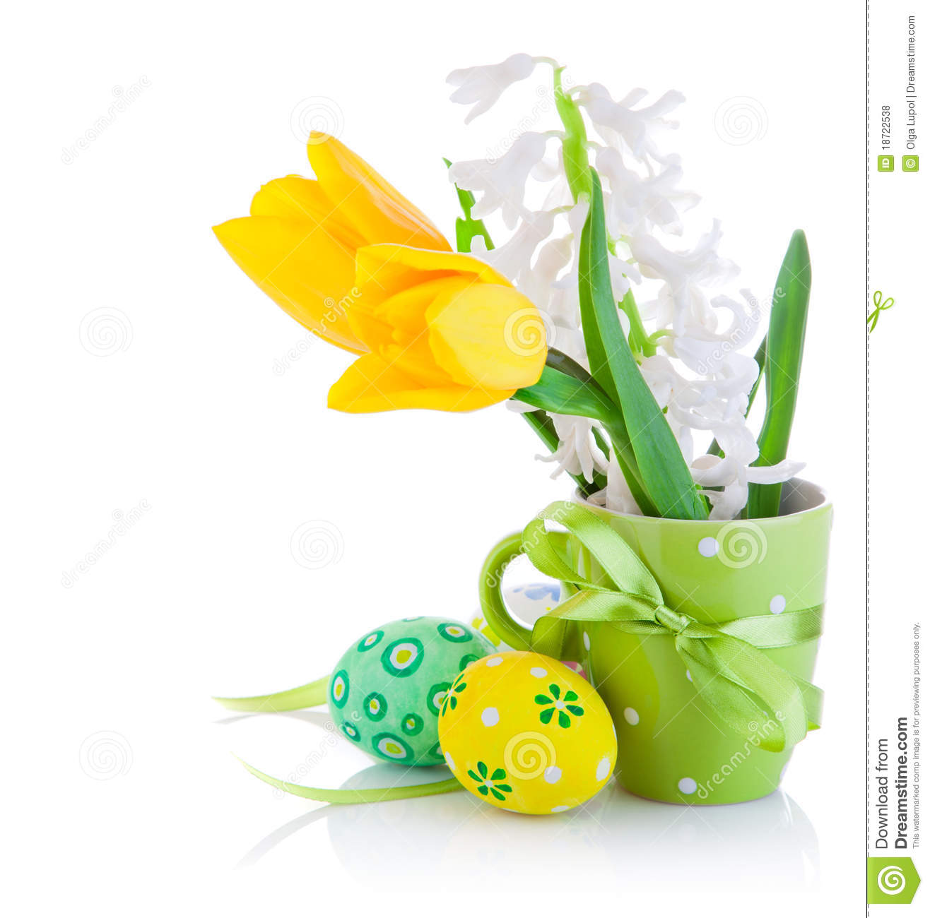 Easter Eggs In Basket With Yellow Tulip Flowers Stock Photo Image