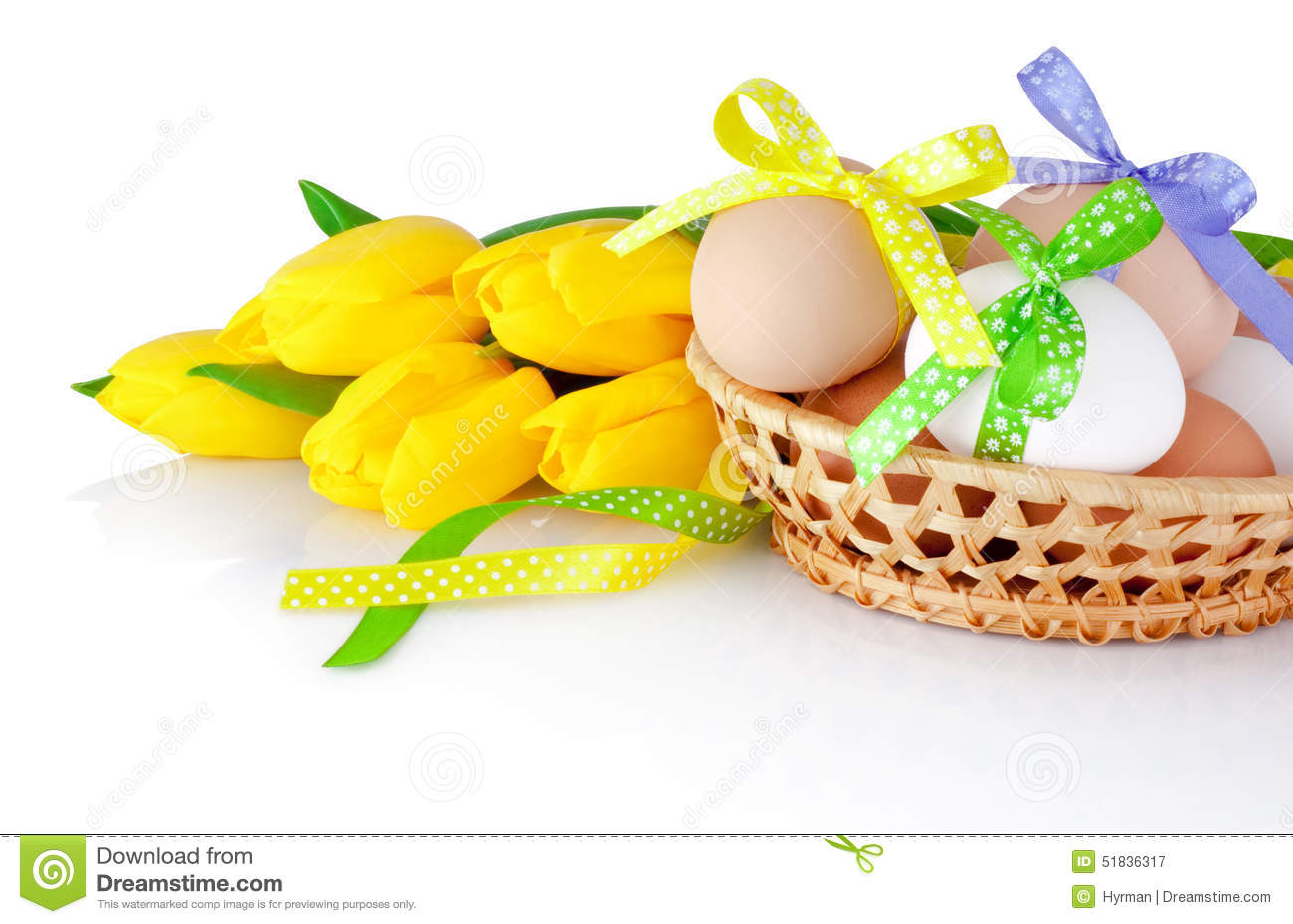 Easter eggs in the basket and yellow tulips isolated on a white