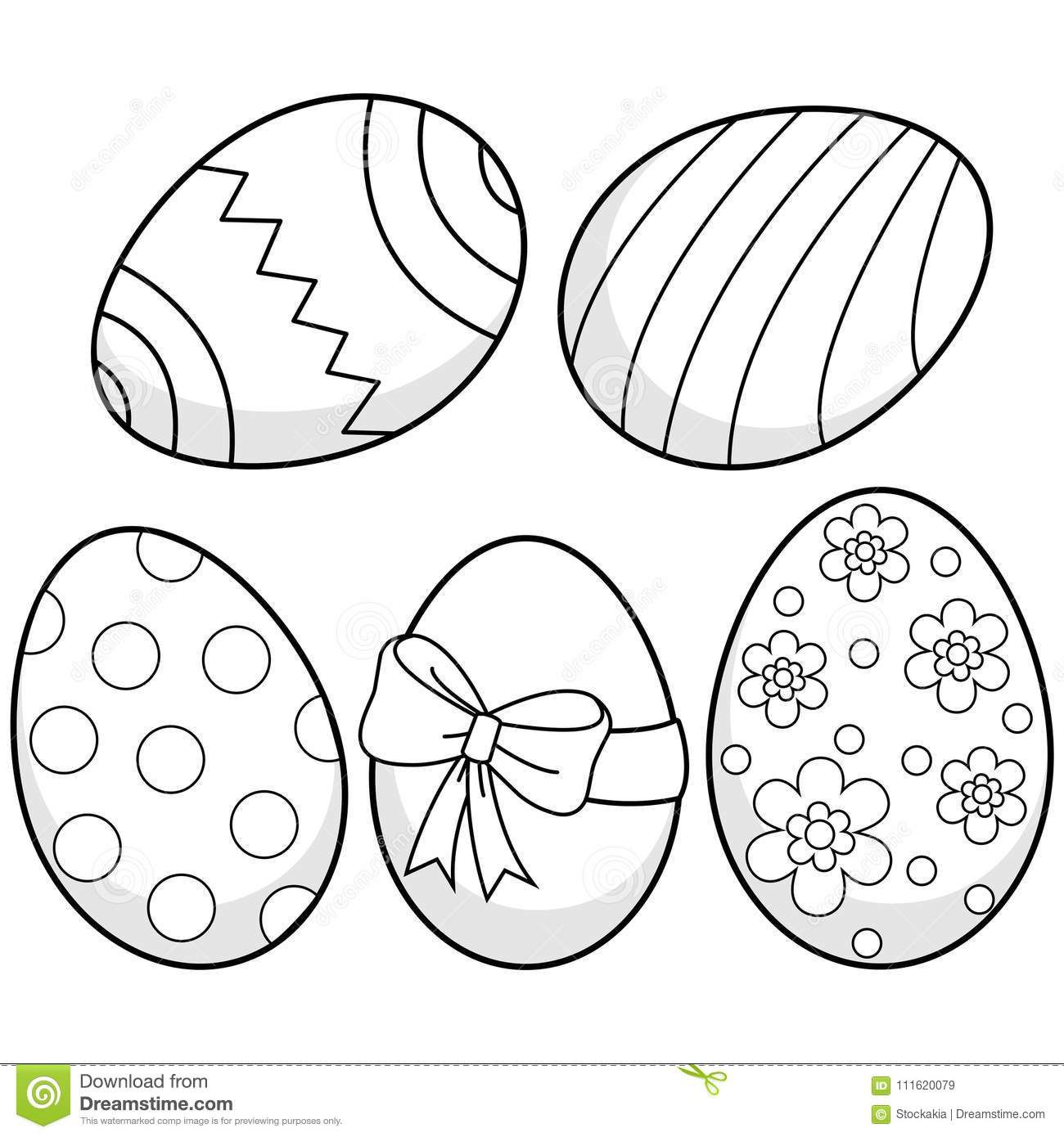 Easter Eggs. Black And White Coloring Book Page Stock Vector ...