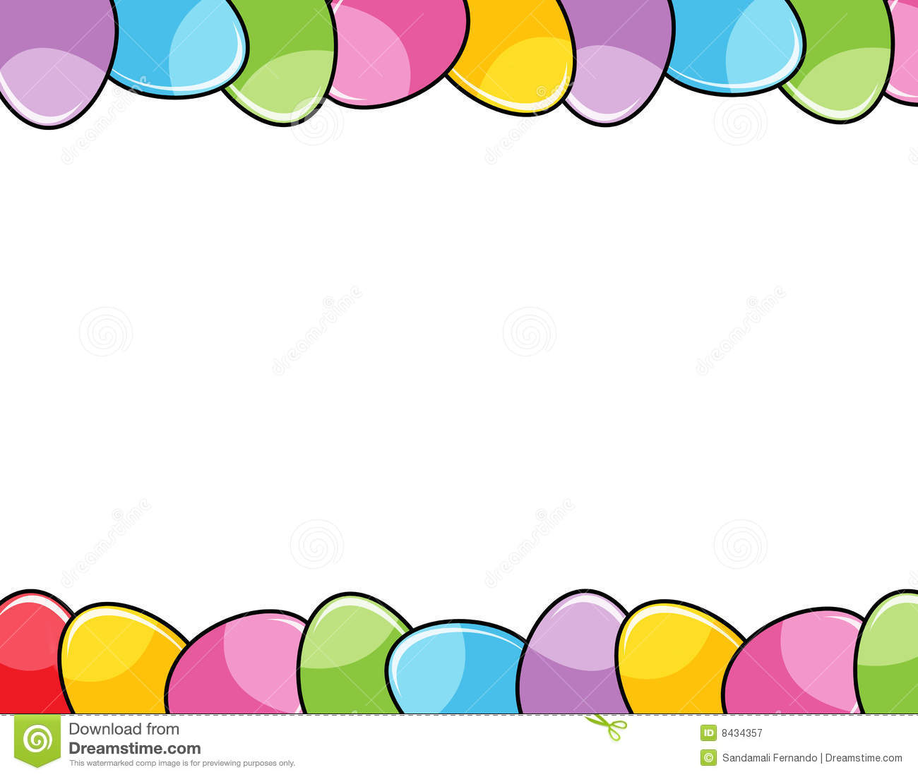 Cute colorful easter eggs header and footer/ border / frame white ...