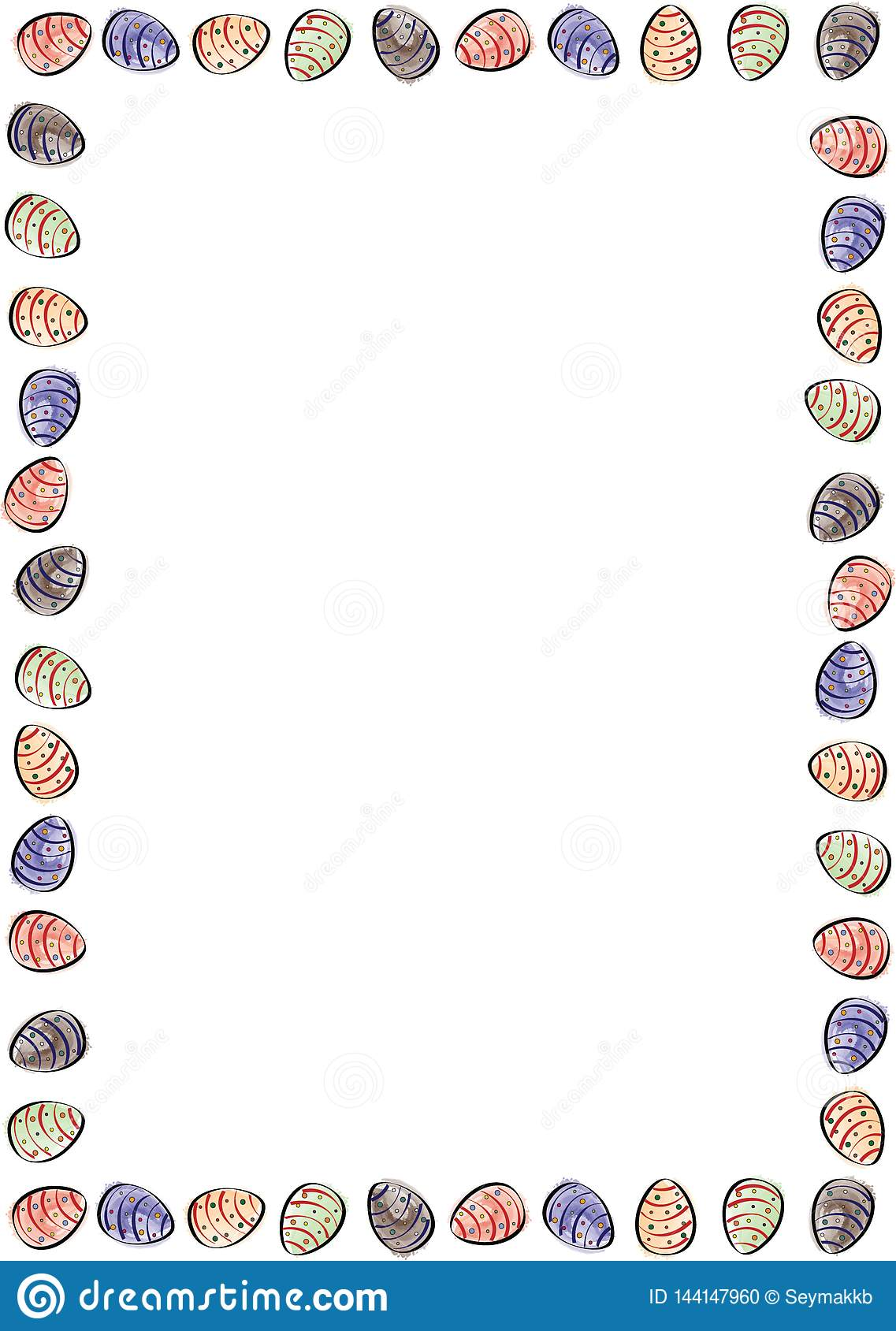 Easter eggs border with watercolor eggs