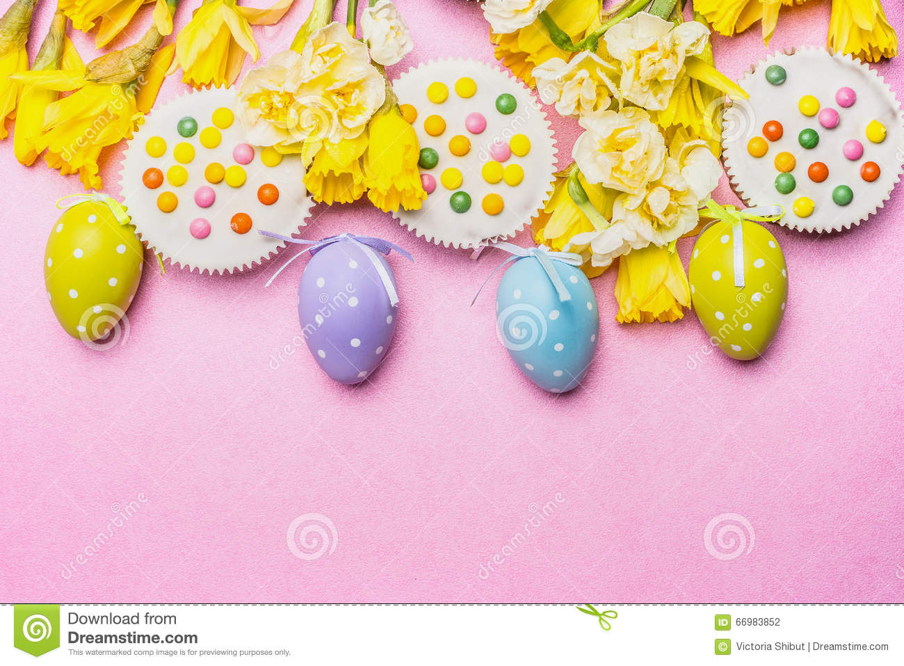 Easter Eggs With Cake And Pretty Daffodils Flowers On Pink