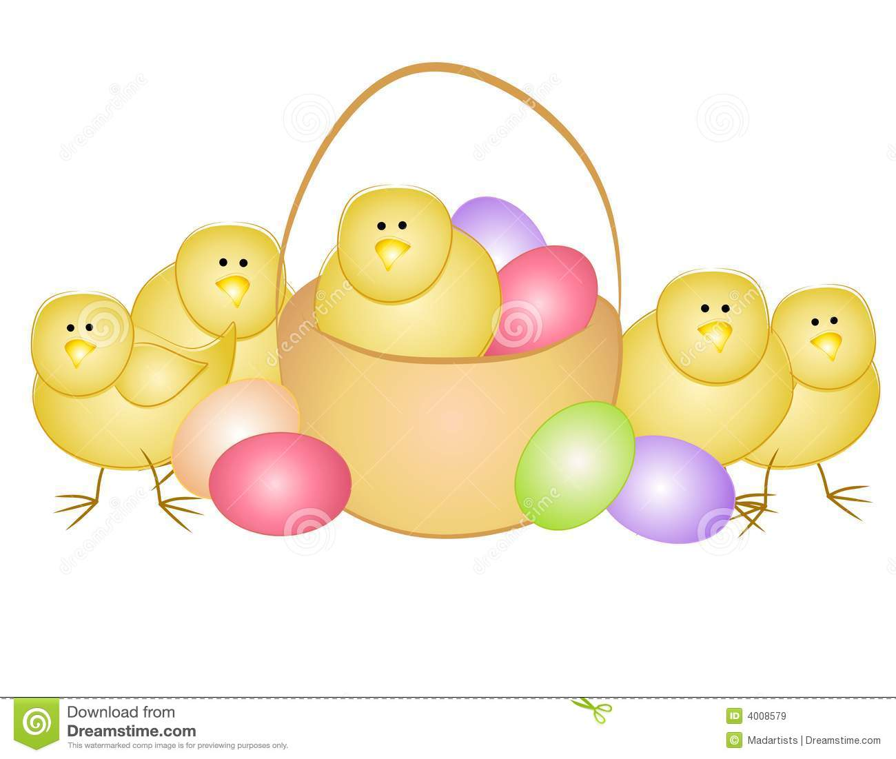 Yellow Baby Easter Chicks Clip Art Stock Images - Image: 4026224