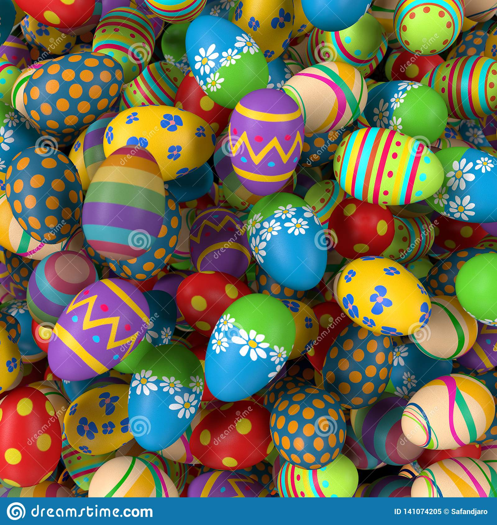 Easter eggs, colorful collection of painted easter eggs