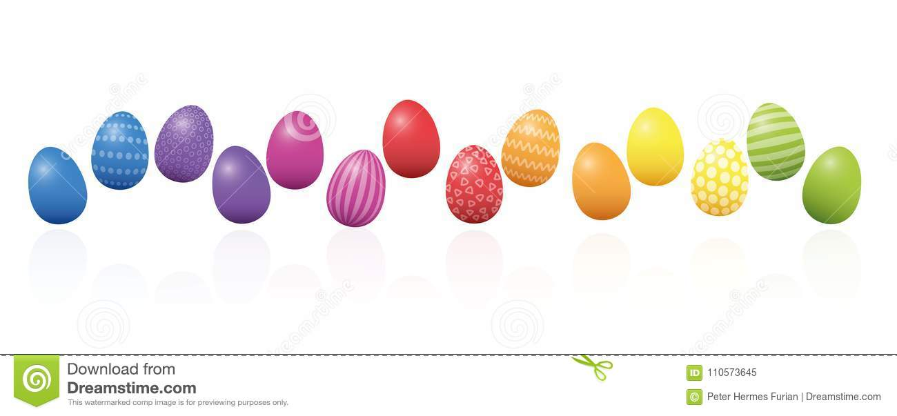 Easter Eggs Colorful Line Loosely Arranged