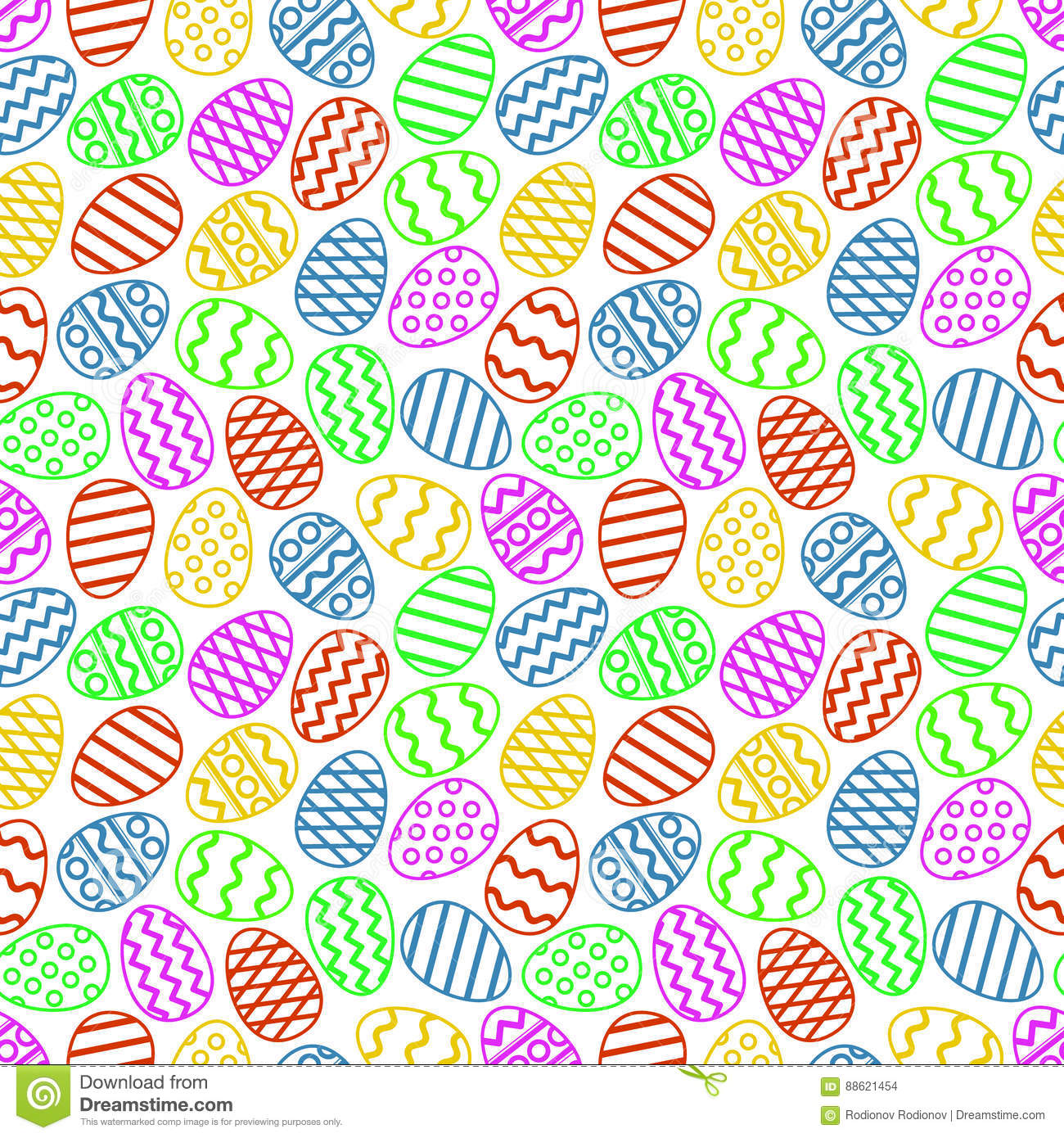 Easter eggs colorful seamless pattern. Vector illustration.