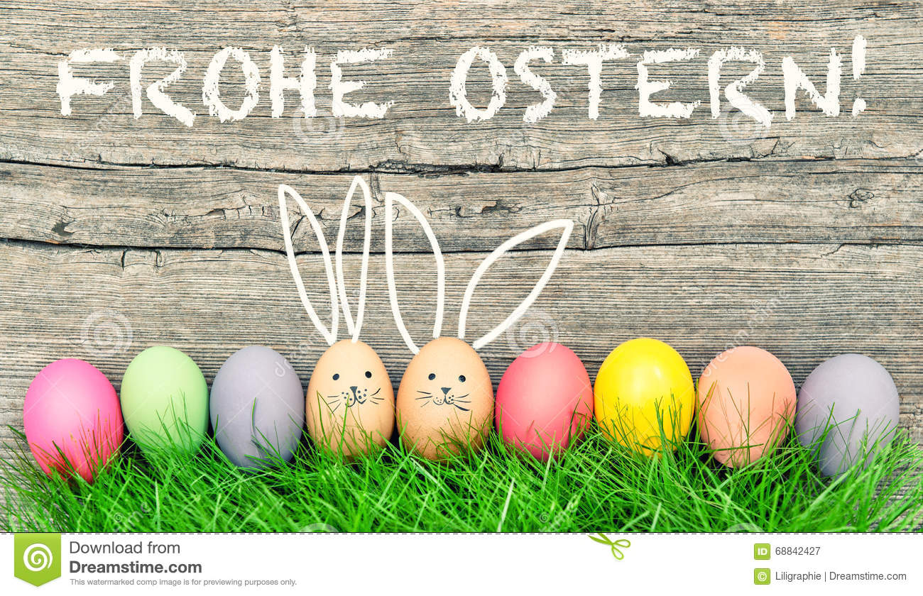 Easter Eggs Cute Bunny. Frohe Ostern Happy Easter German ...