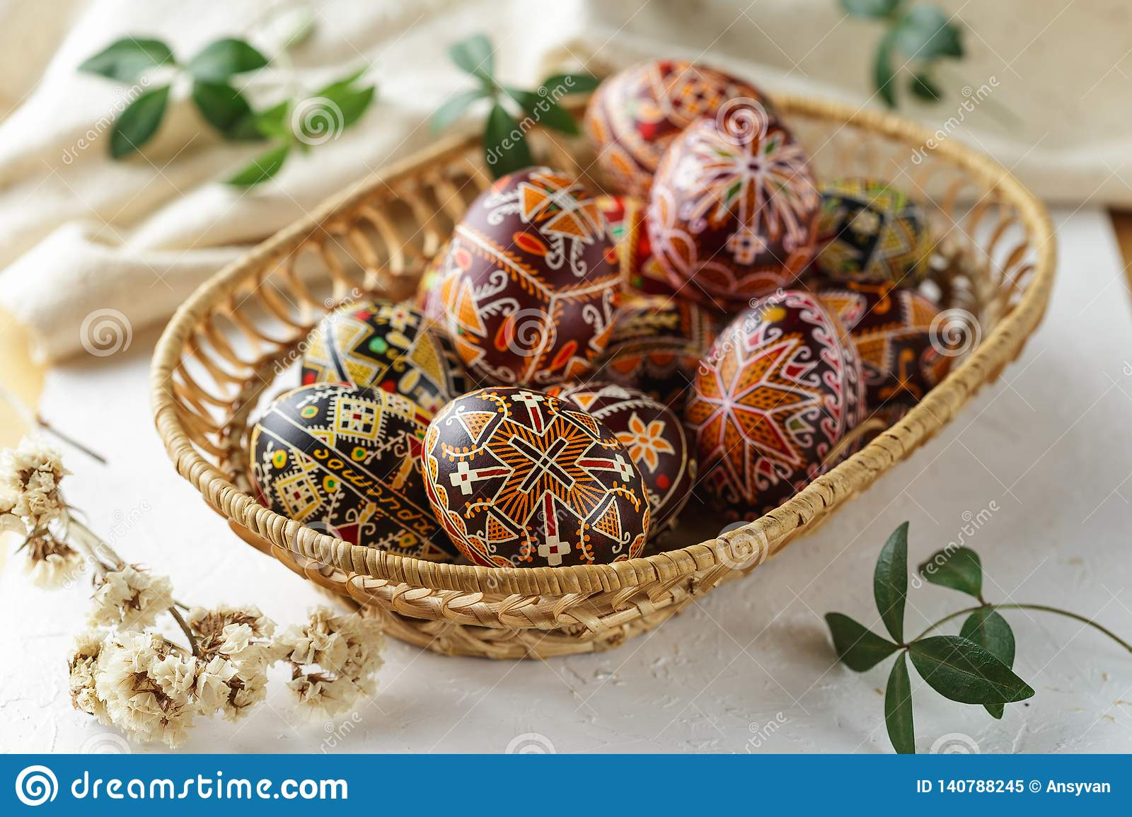 Easter Eggs Decorated With Wax Resist Technique Stock Image Image