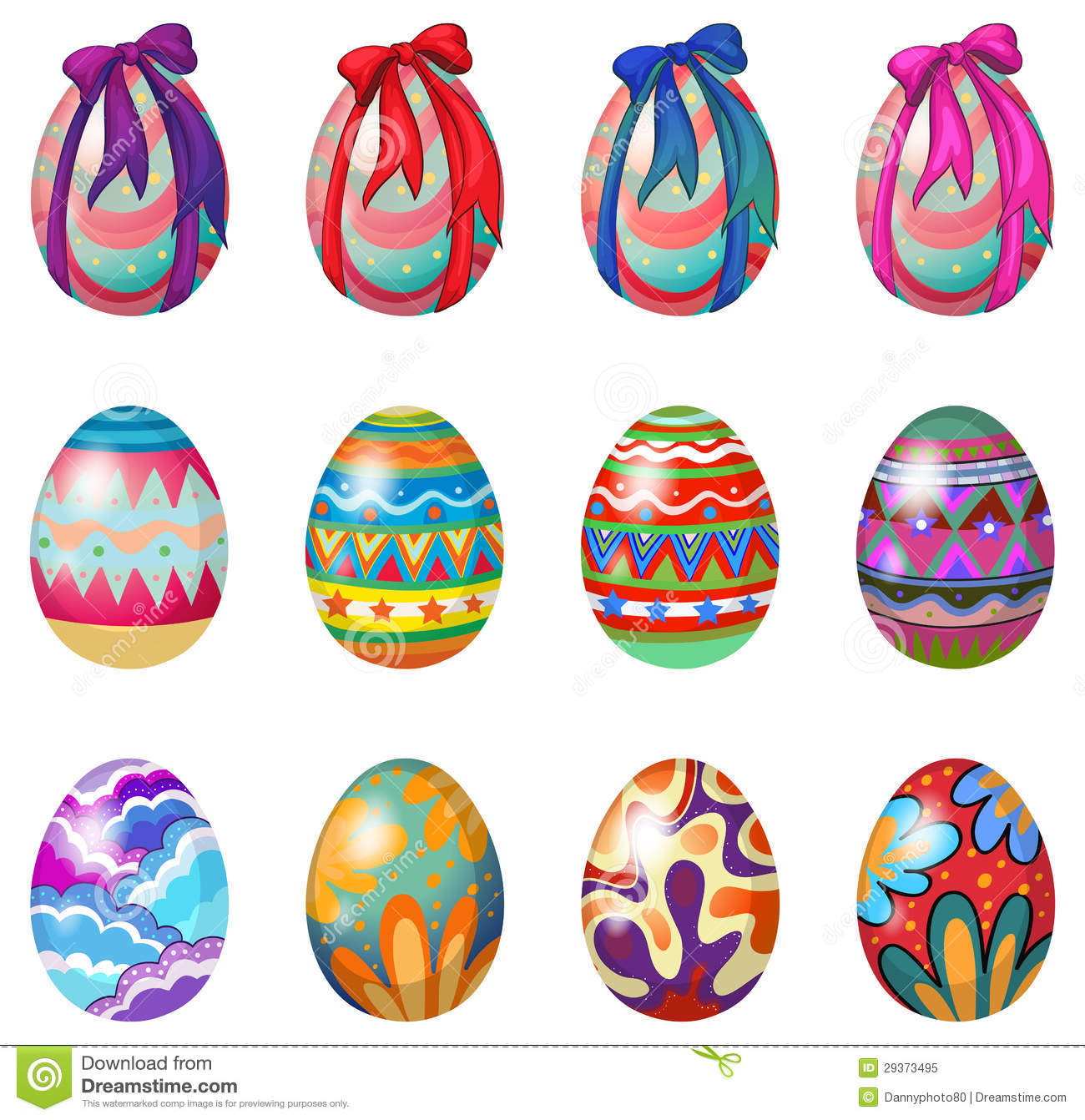 Easter Eggs With Designs And Ribbons Royalty Free Stock Photo - Image ...