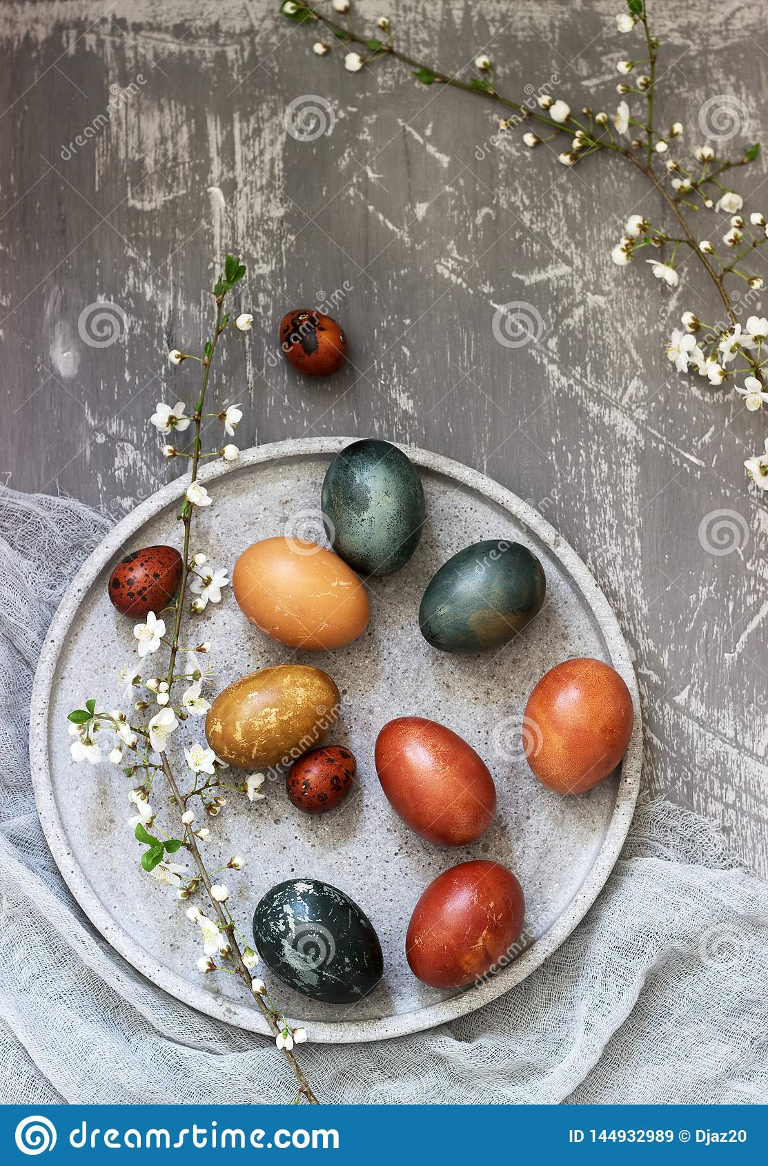Easter eggs dyed with natural dyes, cabbage, chamomile, hibiscus and onion peel.
