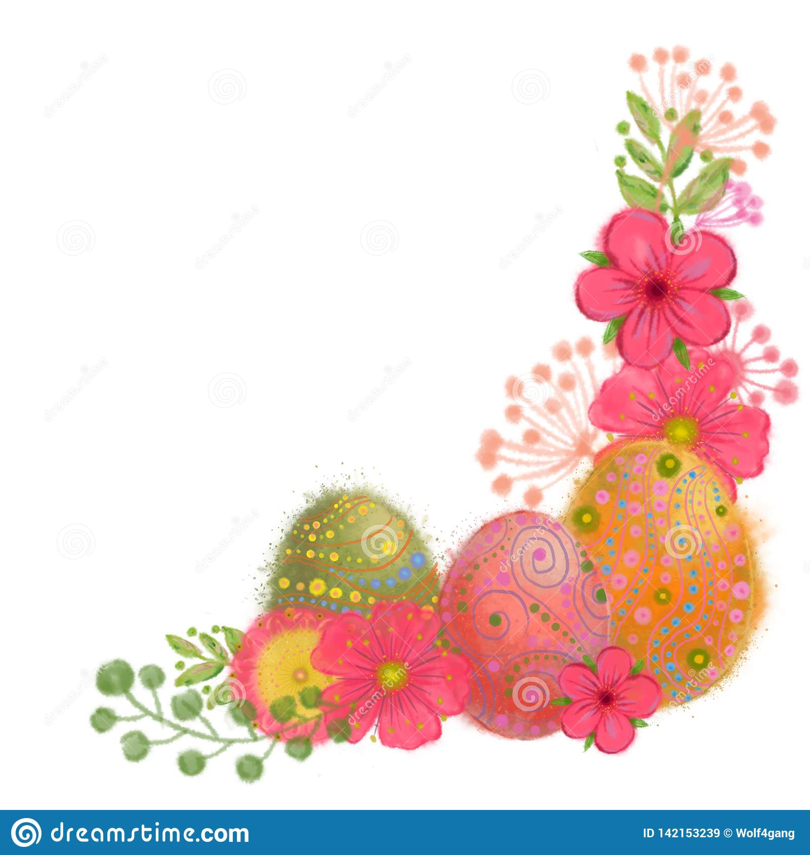 Easter Eggs and Fantasy Flower Corner Vignette Isolated on White Background.