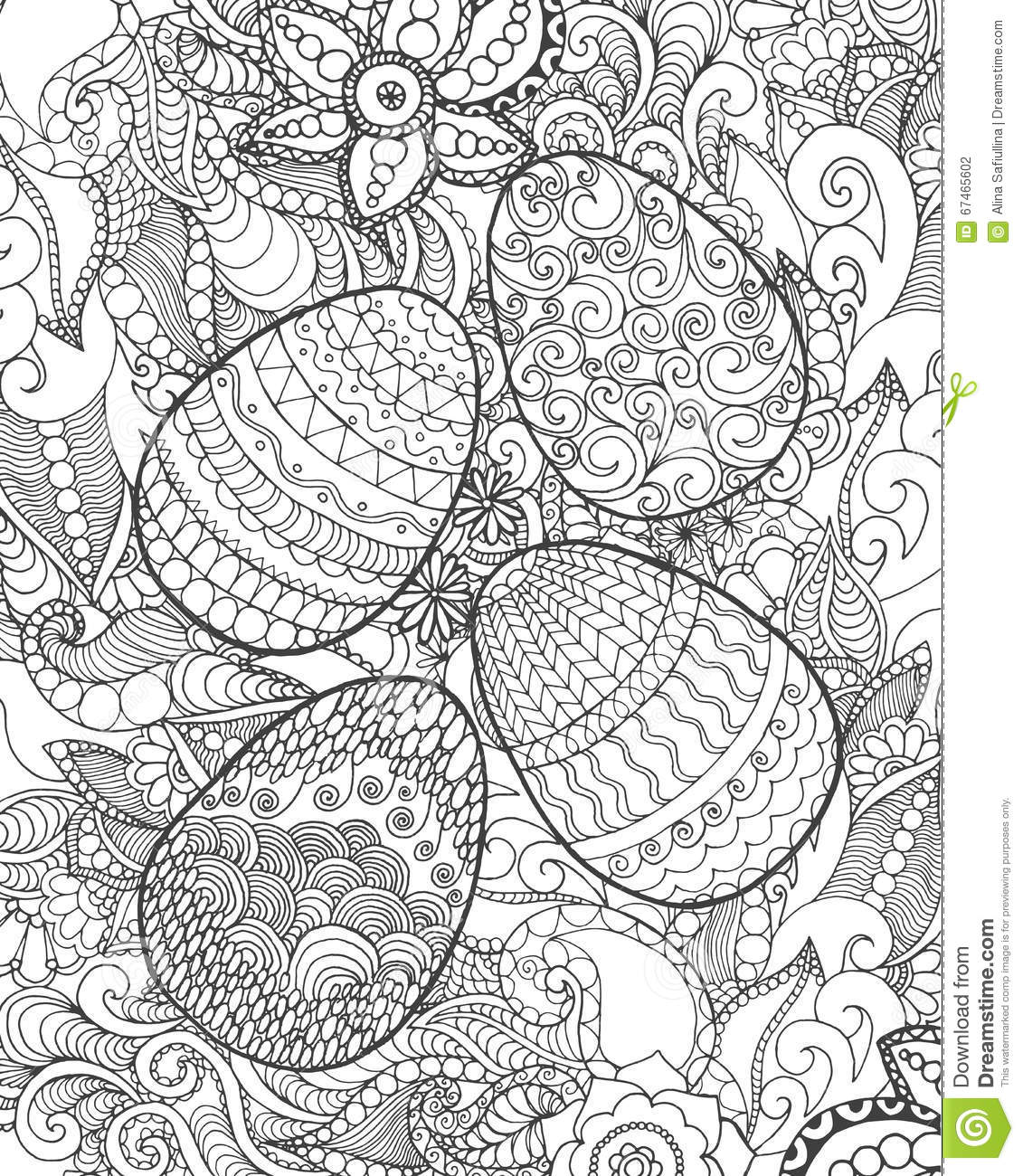 Easter eggs and flowers coloring page. Hand drawn decorative elements ...