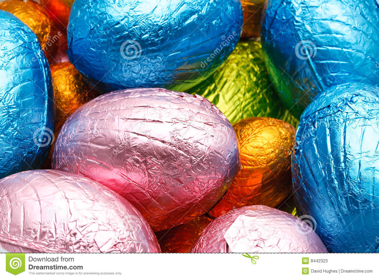 Easter eggs foil wrapped