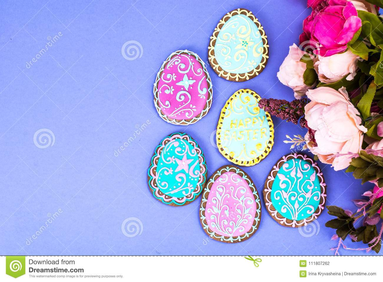 Easter eggs formed as tasty homemade cookies on bright background