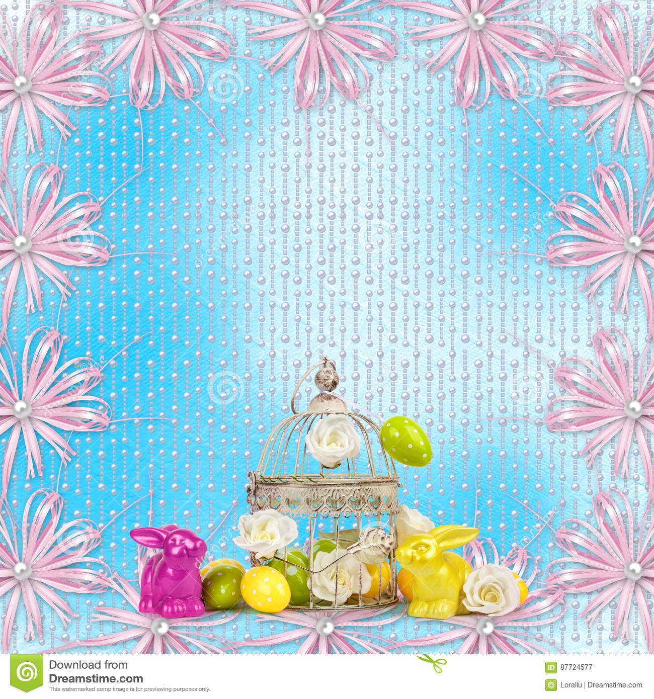 Easter Eggs And Funny Bunny On Blue Background Stock